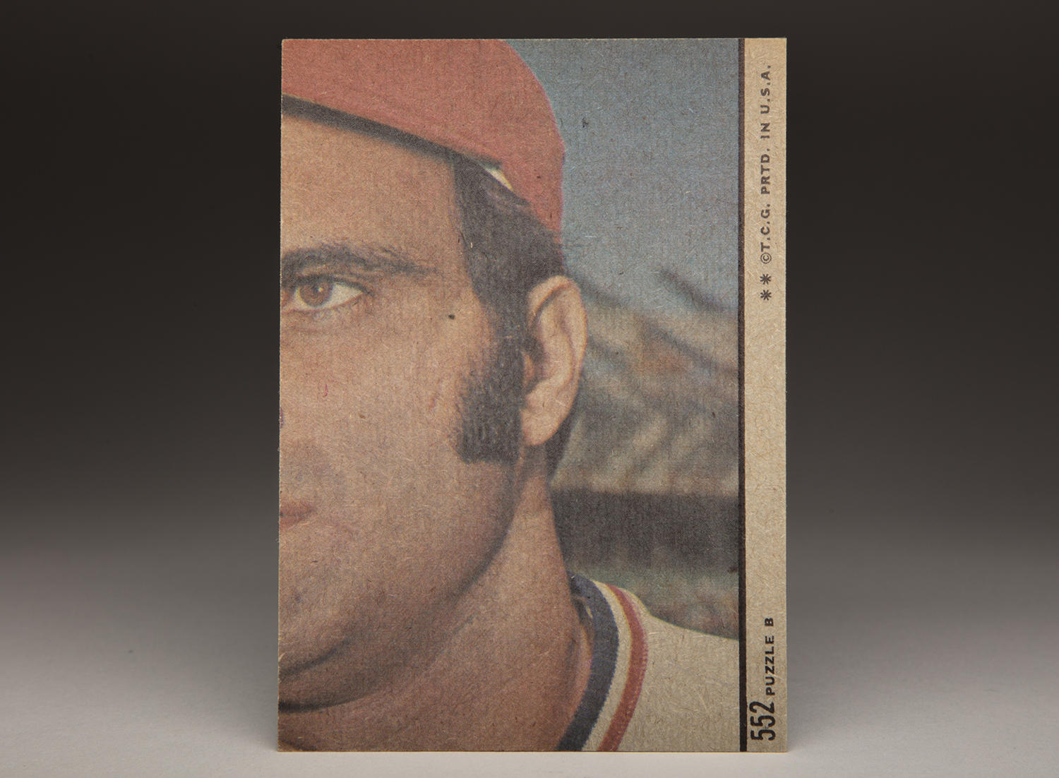The reverse side of Ollie Brown's 1972 Topps card features a puzzle piece of then-Cardinals catcher Joe Torre. Certain cards within the 1972 Topps set had partial pictures on their reverse sides, which made a complete image when combined. (Milo Stewart Jr. / National Baseball Hall of Fame and Museum)