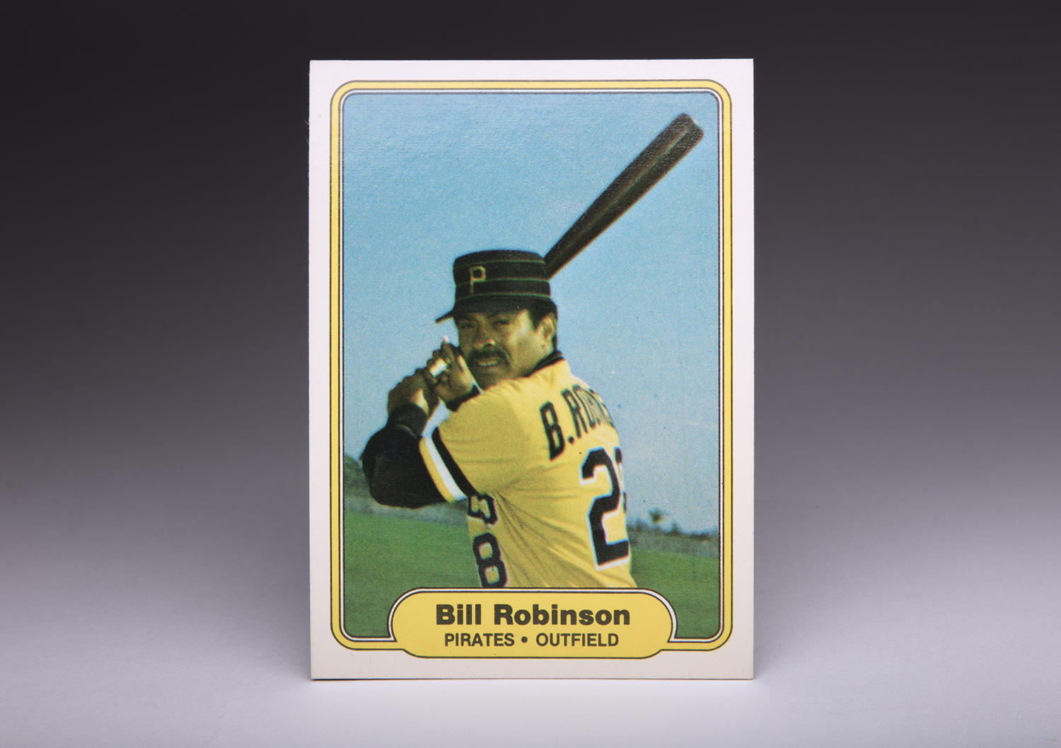 Bill Robinson's expression on his 1982 Fleer card is stern and professional, indicative of a serious ballplayer who meant business whenever he stepped into the batter's box. (Milo Stewart Jr. / National Baseball Hall of Fame and Museum)