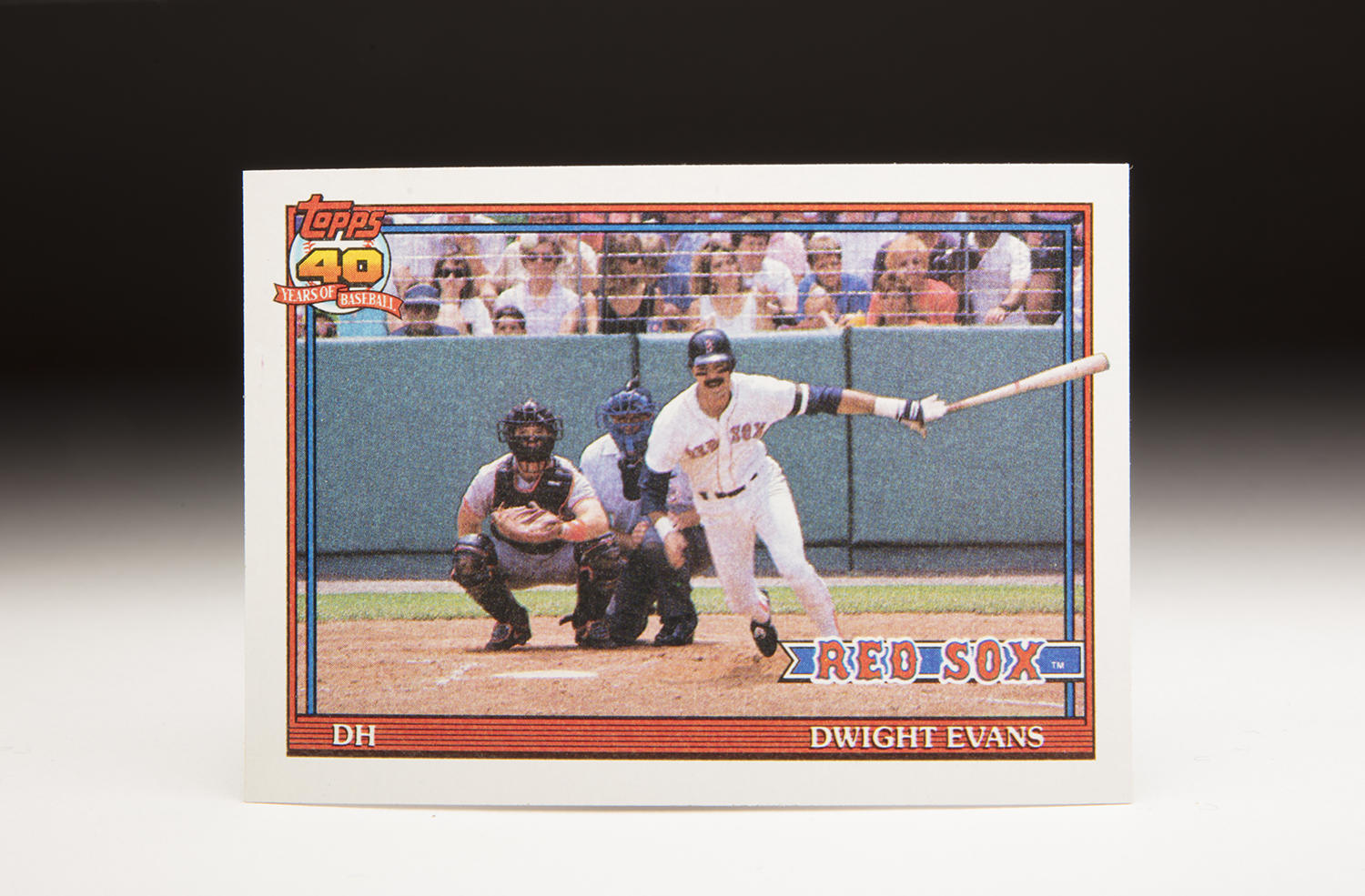 Taken from somewhere in the center field bleachers at Fenway Park, or from one of the bullpens, Dwight Evans' 1991 Topps card gives a head-on look as he completes his swing in a game during the 1990 season. (Milo Stewart Jr. / National Baseball Hall of Fame and Museum)