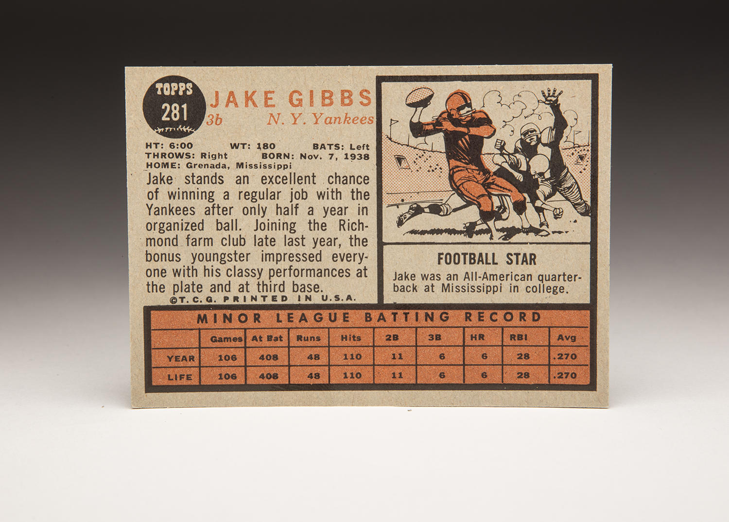 The reverse side of Jake Gibbs' 1962 Topps card. (By Photographer Milo Stewart Jr./National Baseball Hall of Fame and Museum)