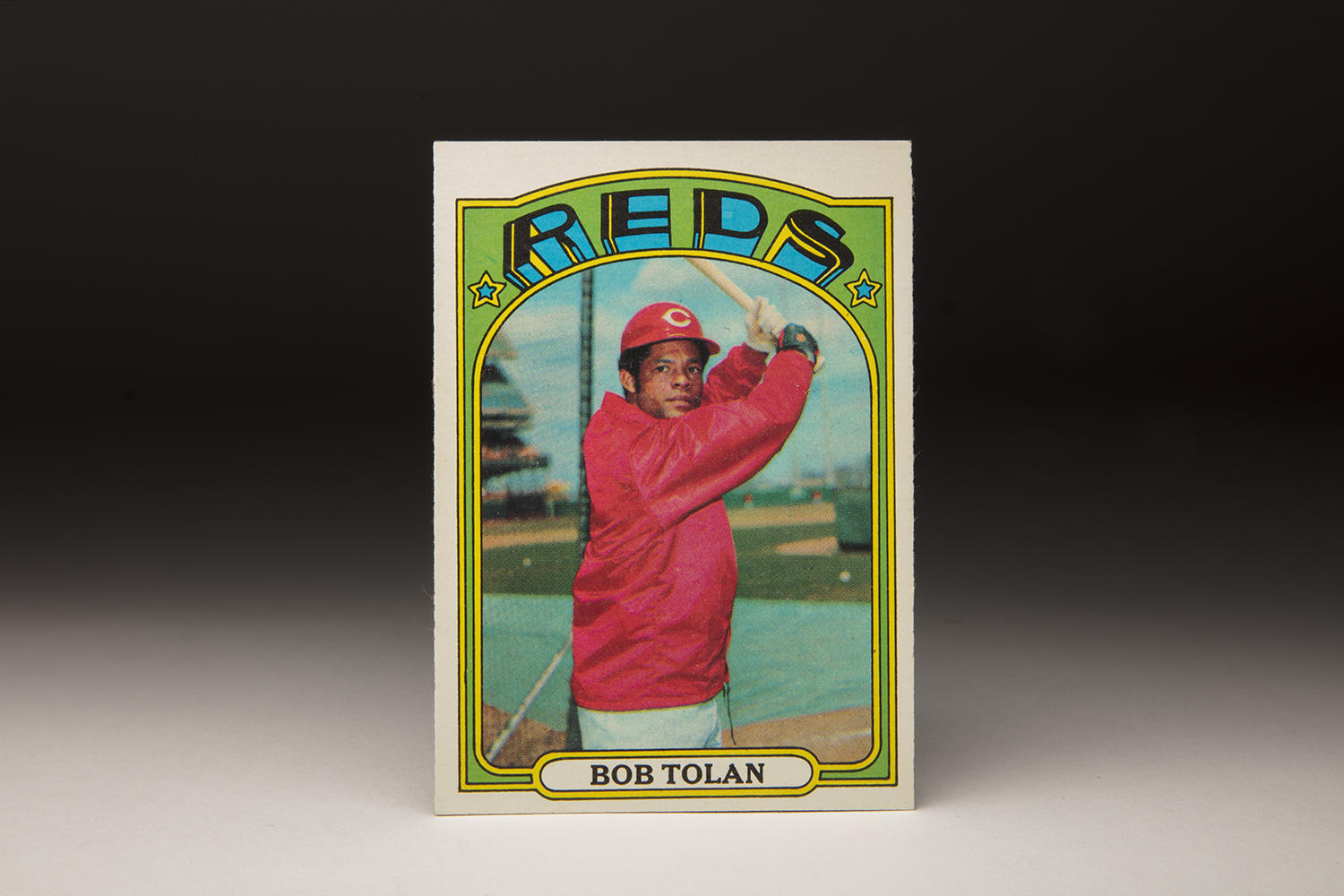 Bobby Tolan's 1972 Topps card showcases many unique features, like his high batting stance and colorful windbreaker. (By Photographer Milo Stewart Jr./National Baseball Hall of Fame and Museum)