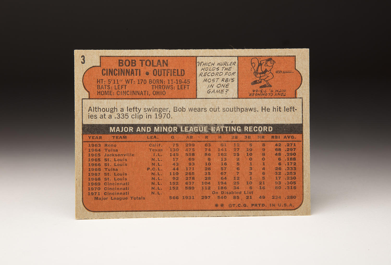 The reverse side of Bobby Tolan's 1972 Topps card. (By Photographer Milo Stewart Jr./National Baseball Hall of Fame and Museum)