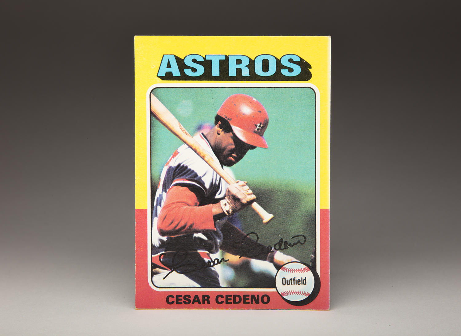 The photographer shooting for César Cedeño's 1975 Topps card chose an unusual angle, not often seen on cards: Directly behind home plate. (By Photographer Milo Stewart Jr./National Baseball Hall of Fame and Museum)