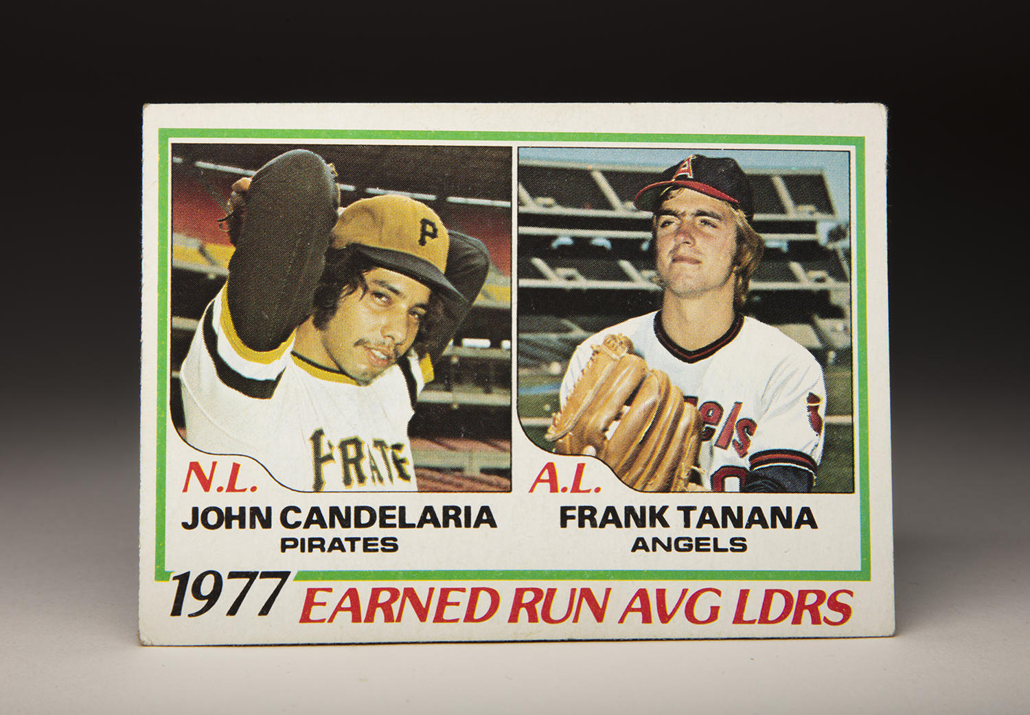 The 1978 Topps ERA leaders card featured the ERA leaders from the previous season: The Pirates' John Candelaria with 2.34 and the Angels' Frank Tanana with 2.54. (Milo Stewart Jr./National Baseball Hall of Fame and Museum)