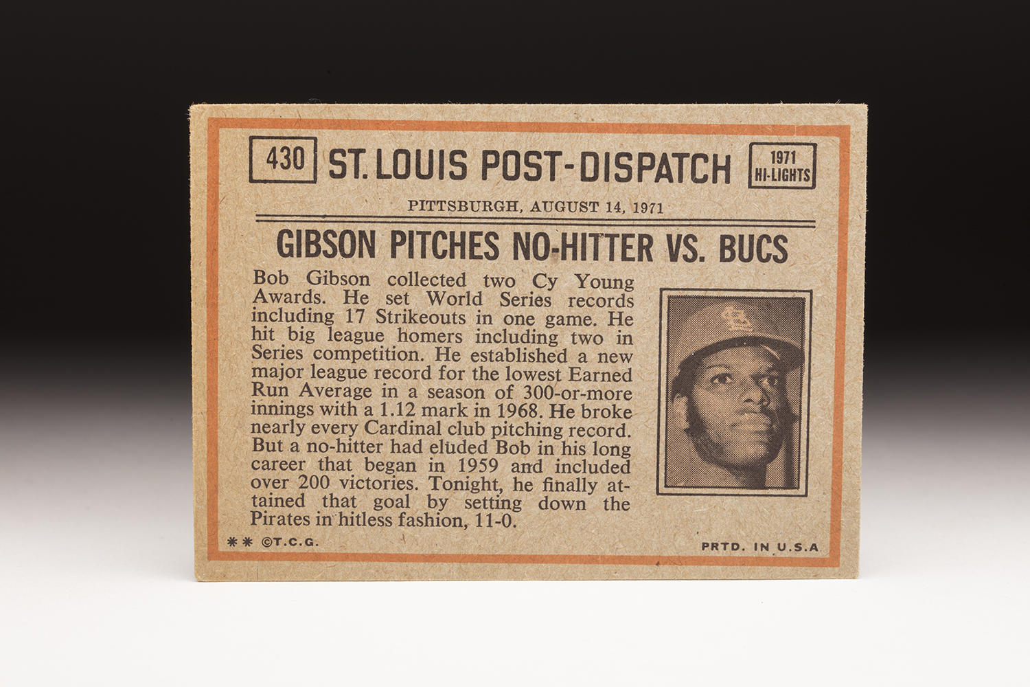 """The reverse side of Bob Robertson's 1972 Topps """"In Action"""" card. (By Photographer Milo Stewart Jr./National Baseball Hall of Fame and Museum)"""