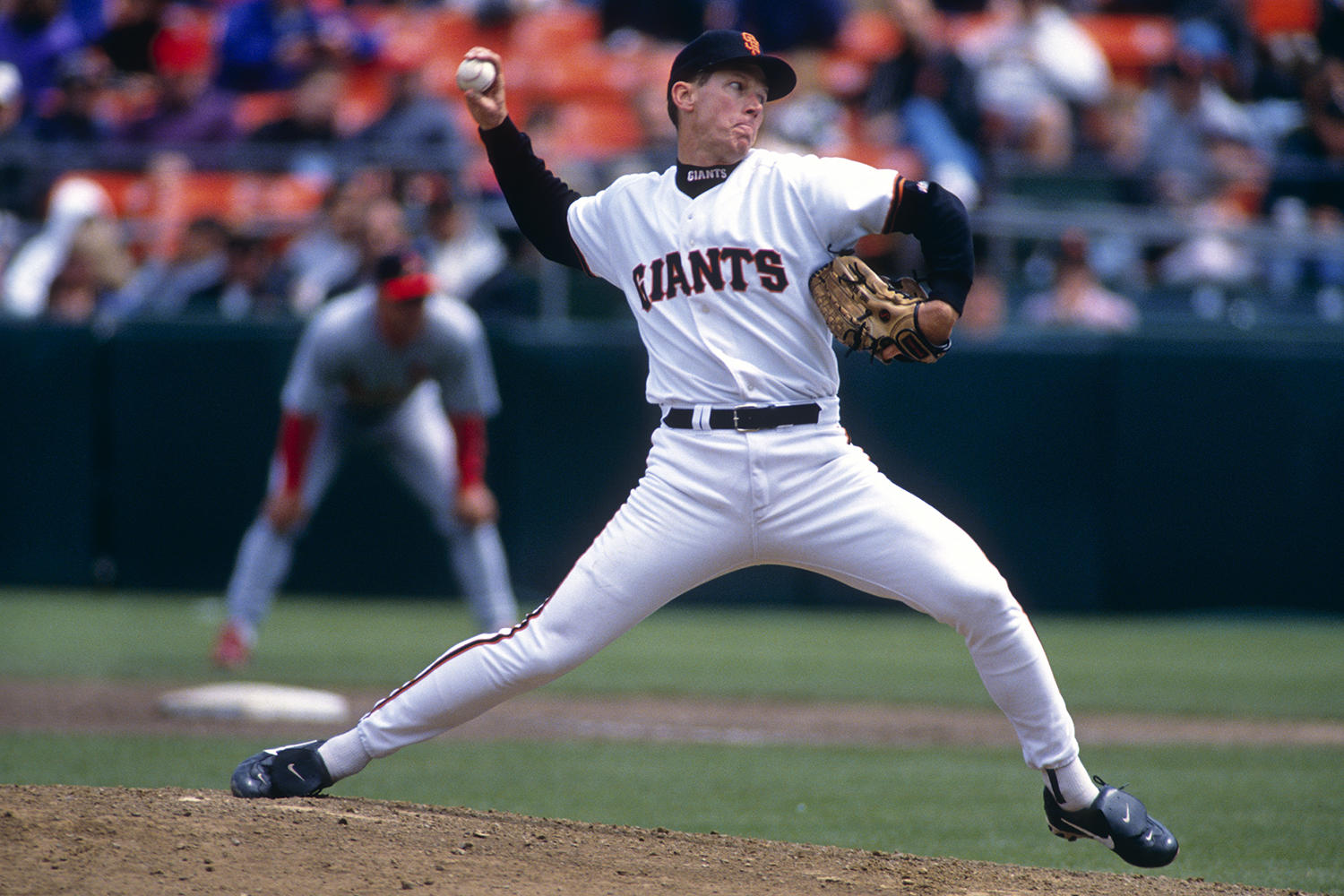 Orel Hershiser pitched for the San Francisco Giants in 1998, after three seasons with the Cleveland Indians and 12 seasons with the Los Angeles Dodgers. (Brad Mangin / National Baseball Hall of Fame)
