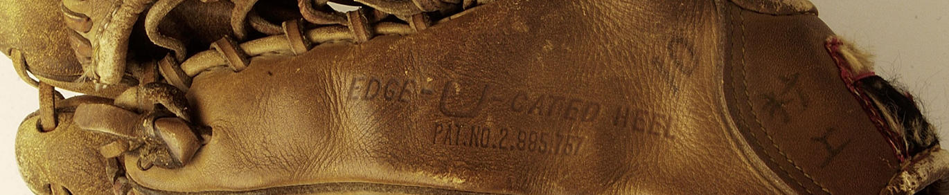Glove used by Masanori Murakami when he played with the San Francisco Giants in 1964 and 1965 - detail from B-3-98 (National Baseball Hall of Fame Library)