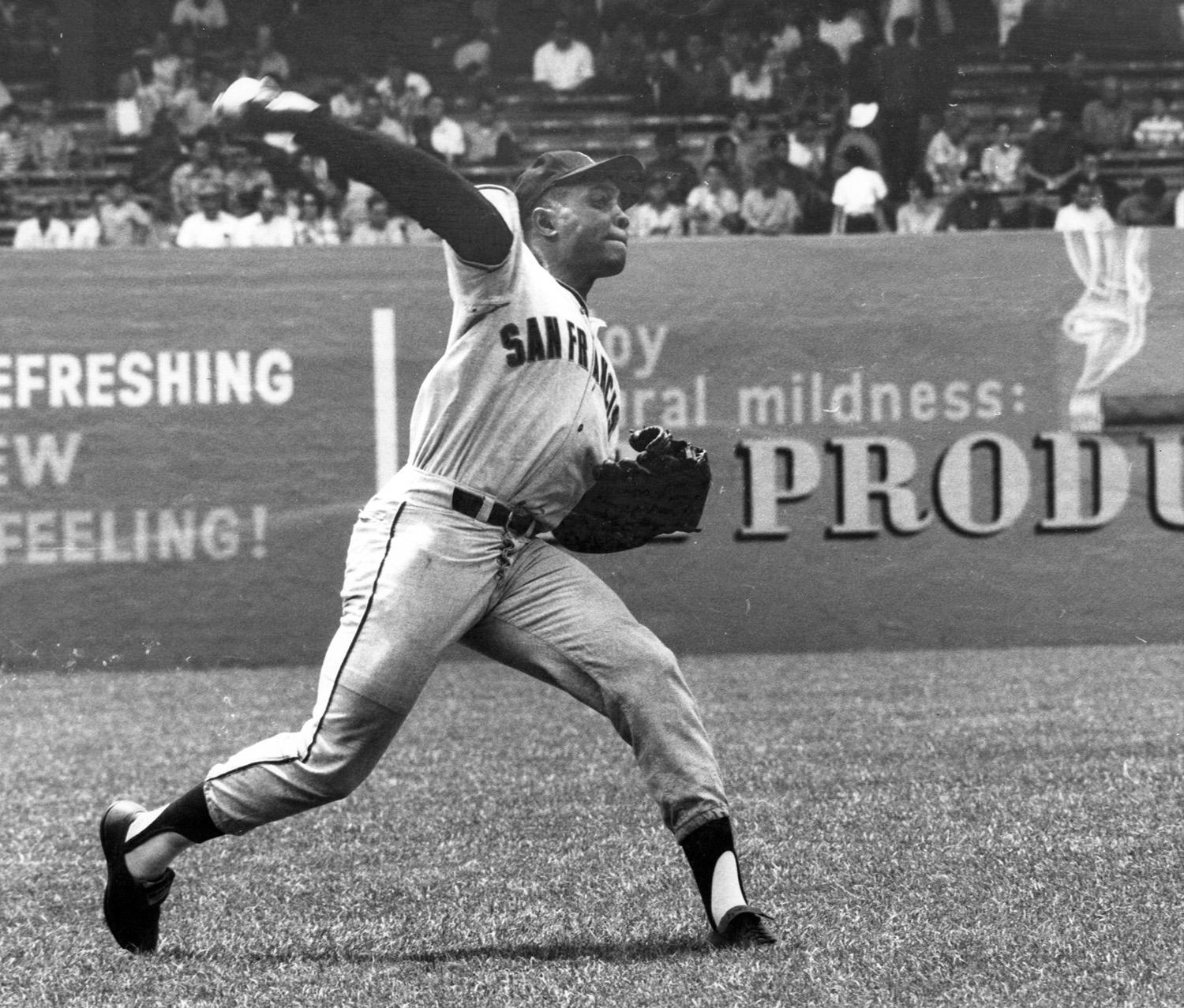 Due to his powerful outfield throwing arm, some talent evaluators compared Ollie Brown to Hall of Famer Willie Mays (pictured above). (National Baseball Hall of Fame and Museum)