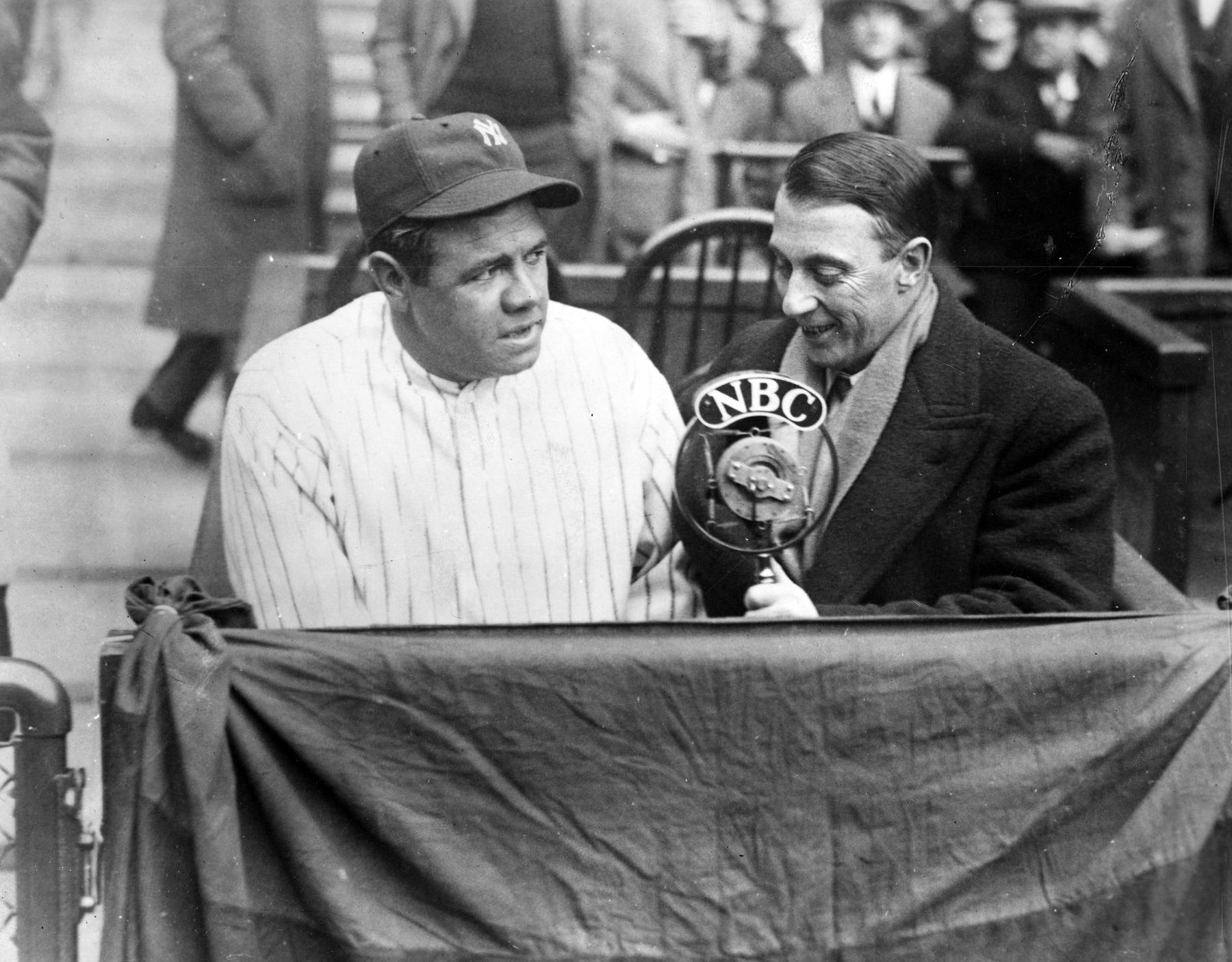 Graham McNamee conducting an interview with New York Yankee Babe Ruth for NBC. BL-1389.68 (National Baseball Hall of Fame Library)