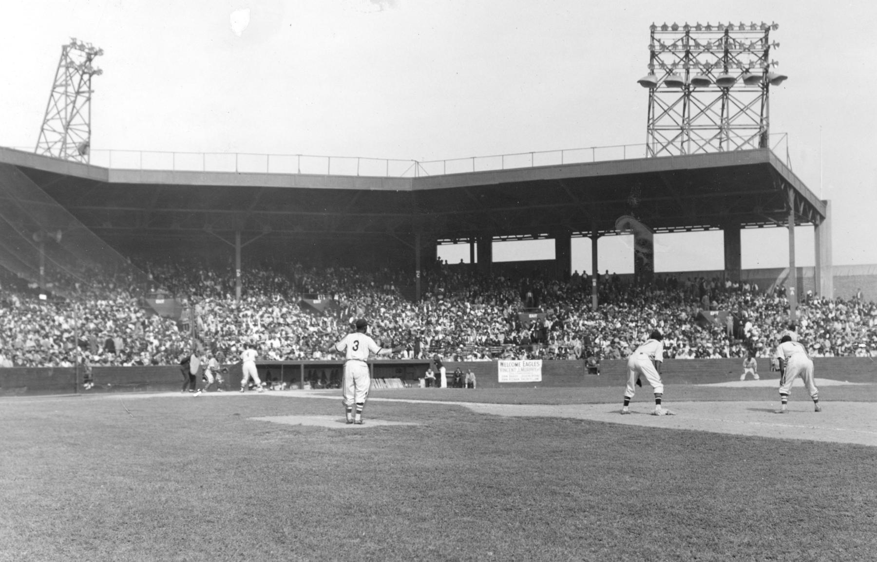 The Newark Eagles host a game at Ruppert Stadium in 1942. BL-98-2008-9 (Larry Hogan / National Baseball Hall of Fame Library)