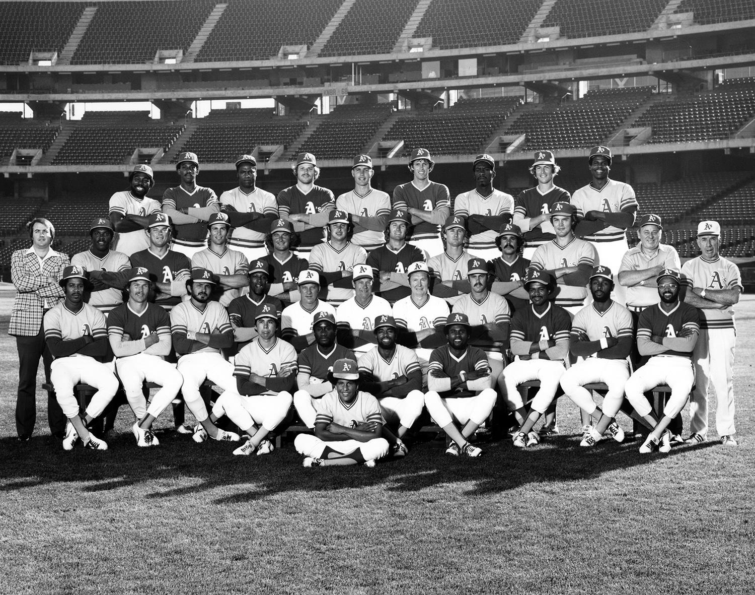 Willie Crawford was traded by the Houston Astros to the Oakland Athletics for corner infielder Denny Walling in 1977, and would wrap up his 14-year big league career there. Crawford is pictured in the top row, third from left. (National Baseball Hall of Fame)