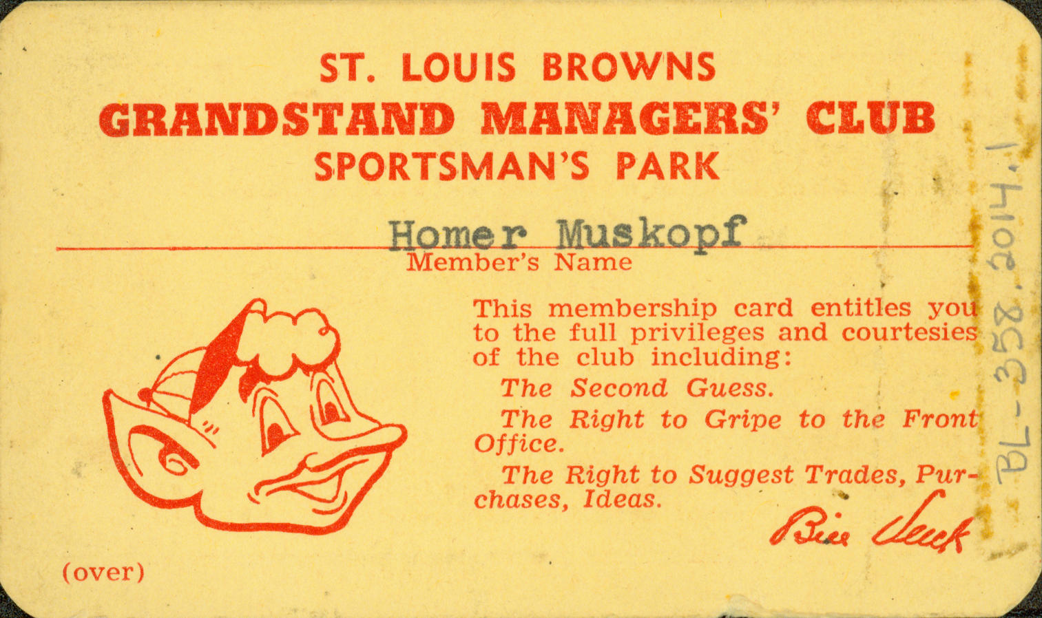 This ticket, belonging to a St. Louis Browns fan, was created specifically for Grandstand Managers' Night. It is now preserved in the Hall of Fame's collection. (National Baseball Hall of Fame)