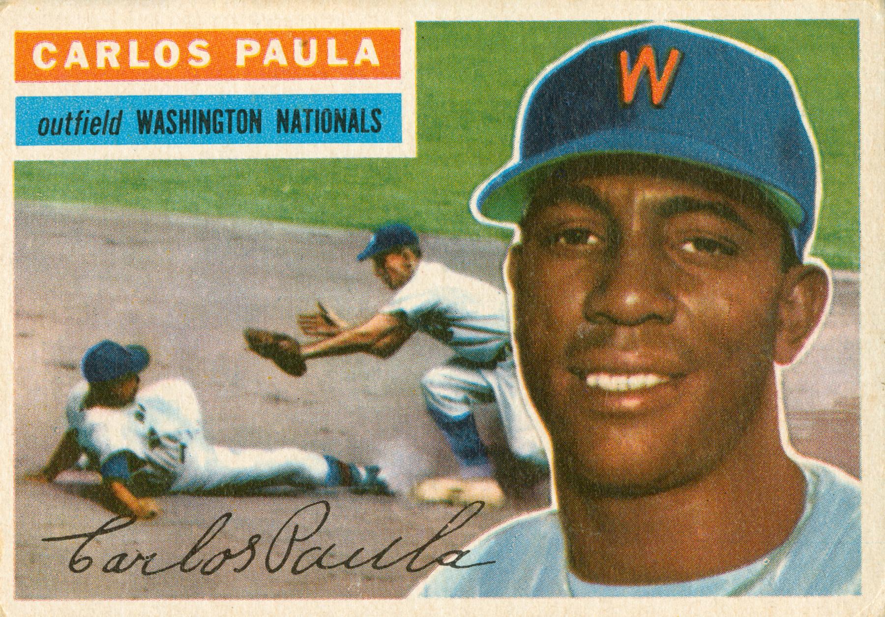 Carlos Paula's 1956 Topps baseball card.  (National Baseball Hall of Fame)