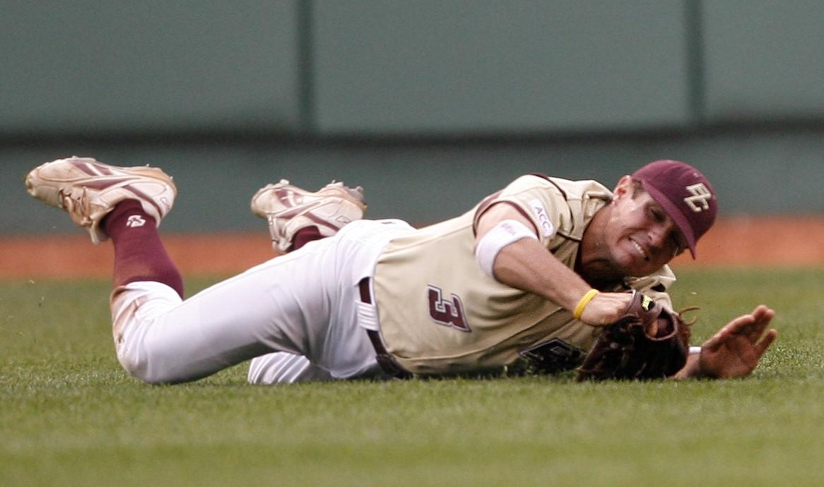 Pete Frates makes a diving catch while playing for Boston College's baseball team on April 26, 2006. The glove he used is now preserved at the Hall of Fame. (Matthew J. Lee / Boston Globe)