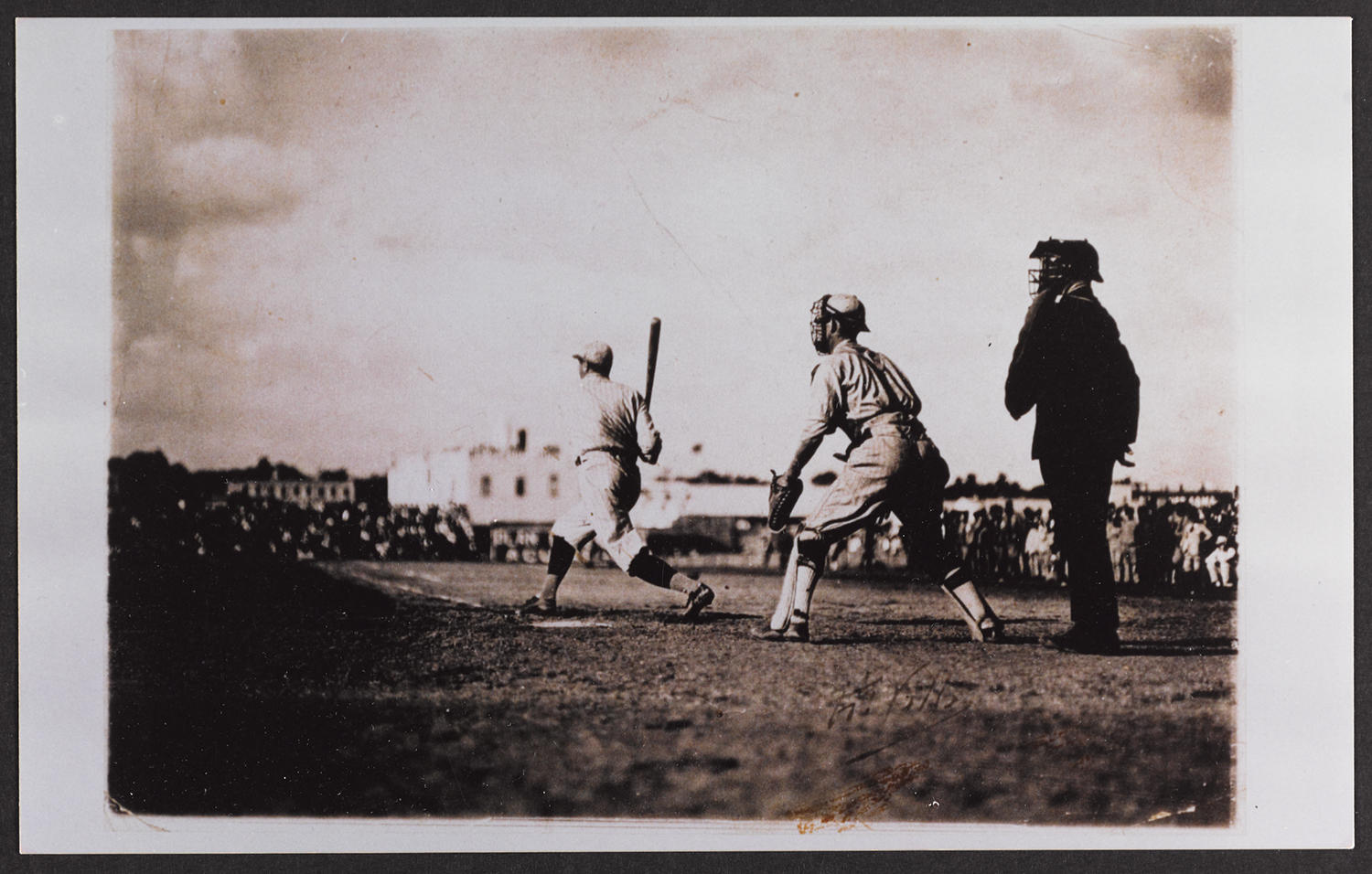 """Pictured above, Babe Ruth at bat in Almendares Park, when the New York Giants faced off against the Almendares Blues. This image, and more from that game, are available in <a href=""""http://collection.baseballhall.org/islandora/object/islandora%3A214522"""">PASTIME</a>. (National Baseball Hall of Fame)"""