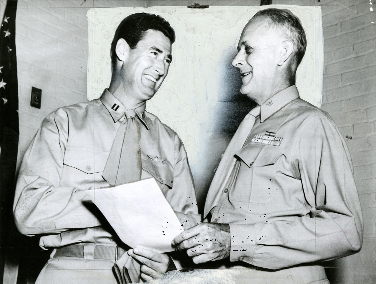 """Ted Williams (left) pictured with Col. K.C. Chapel in Washington D.C, as he is released from active duty in 1953. <a href=""""http://collection.baseballhall.org/islandora/object/islandora%3A501750"""">PASTIME</a> (National Baseball Hall of Fame)"""