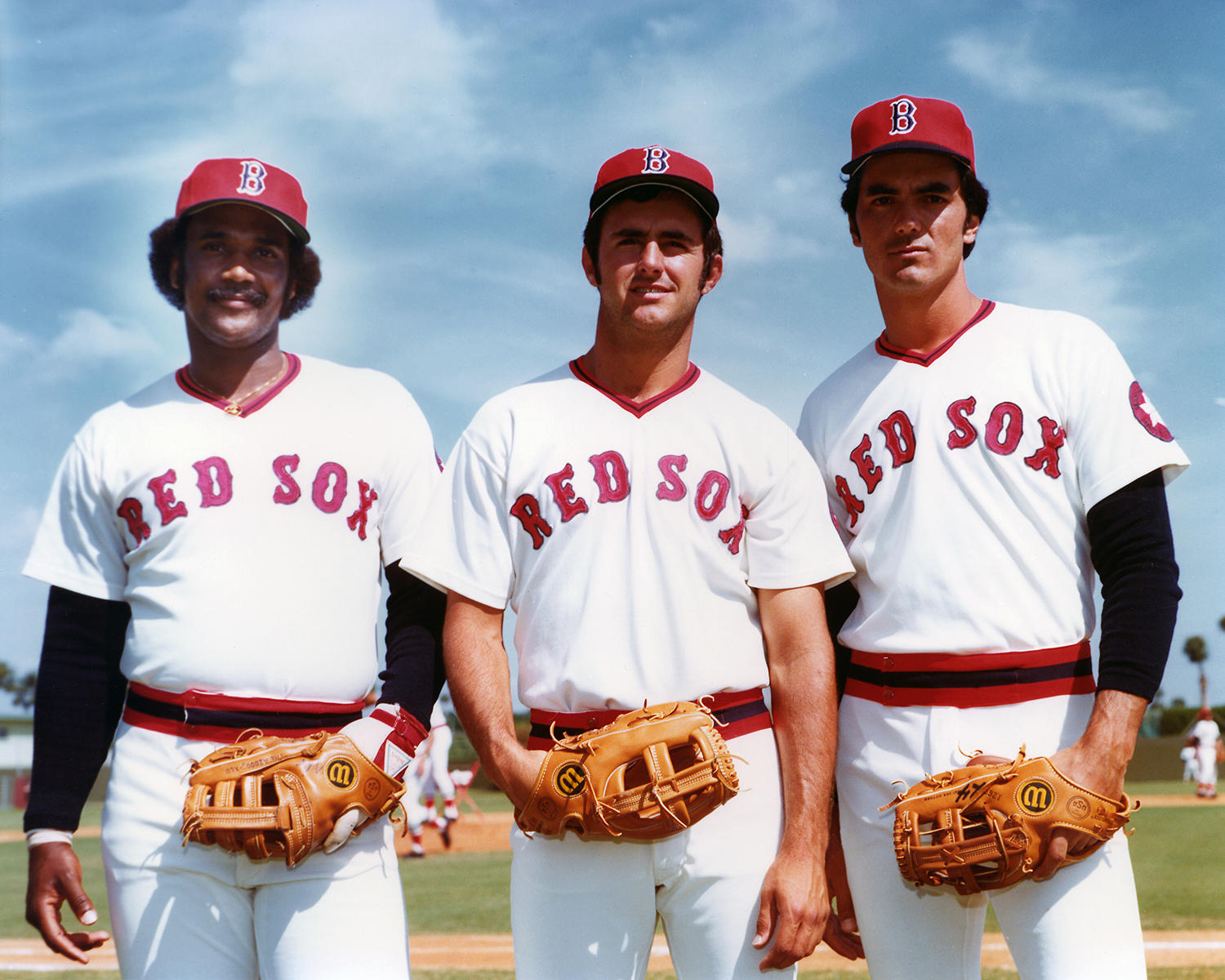 Joined by rookies Jim Rice (left) and Fred Lynn (center), Dwight Evans helped form one of the best outfields in the major leagues in 1975. (Photo courtesy of Boston Red Sox)