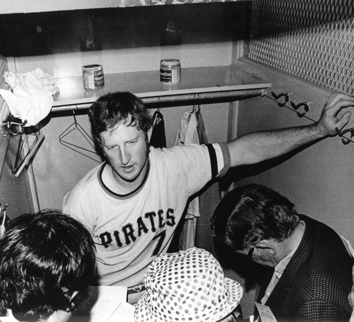Bob Robertson speaks to reporters in front of his locker after a Pirates game. (National Baseball Hall of Fame and Museum)