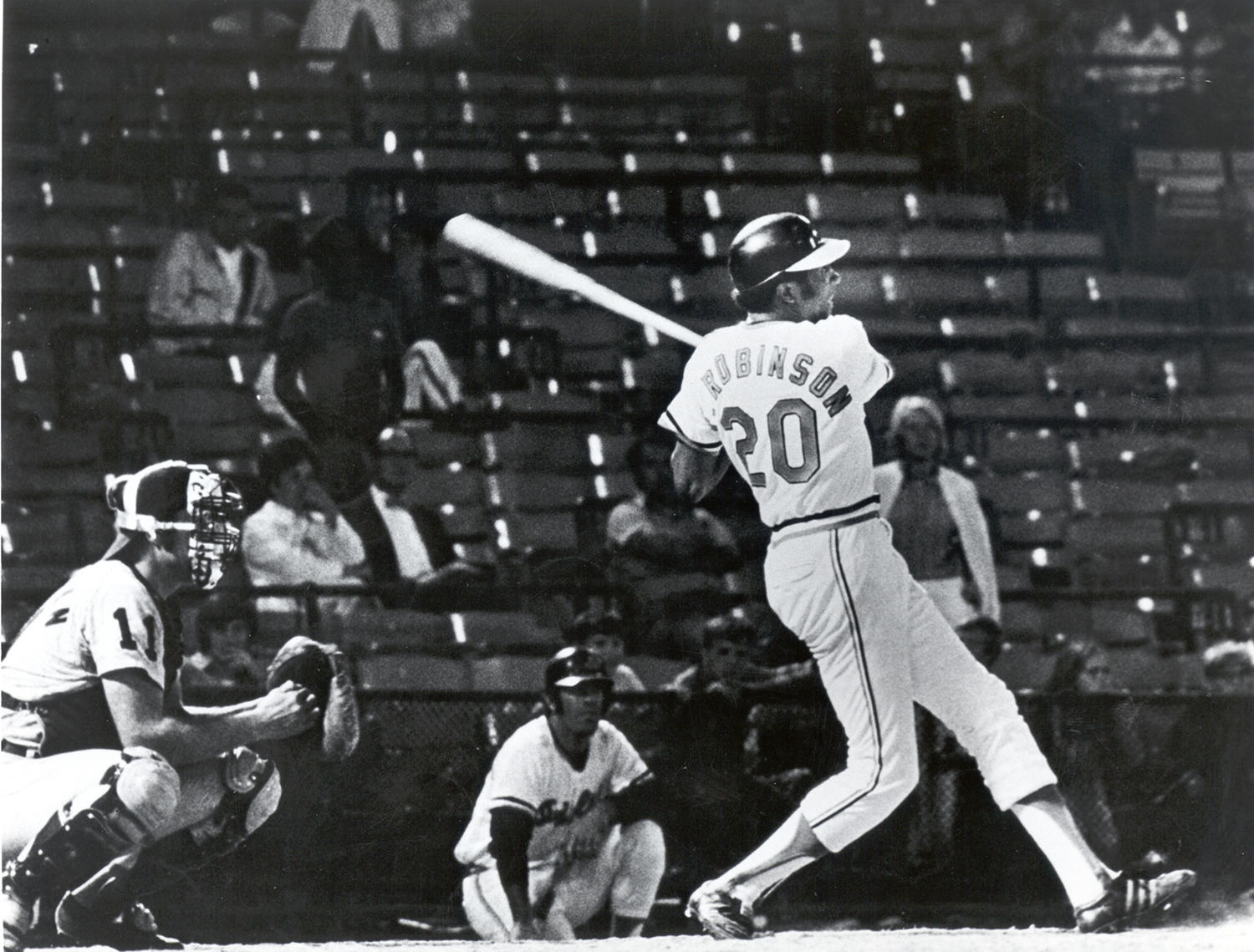 Although Baltimore's Memorial Stadium was mostly empty at the end of a long day that featured a doubleheader, Frank Robinson made history on Sept. 13, 1971 by hitting his 500th home run. (National Baseball Hall of Fame and Museum)