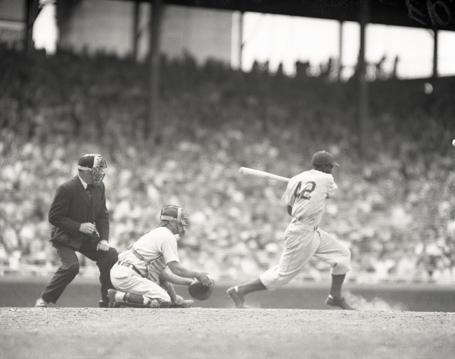 Jackie Robinson batted .311 for his 10-year career. (National Baseball Hall of Fame and Museum)
