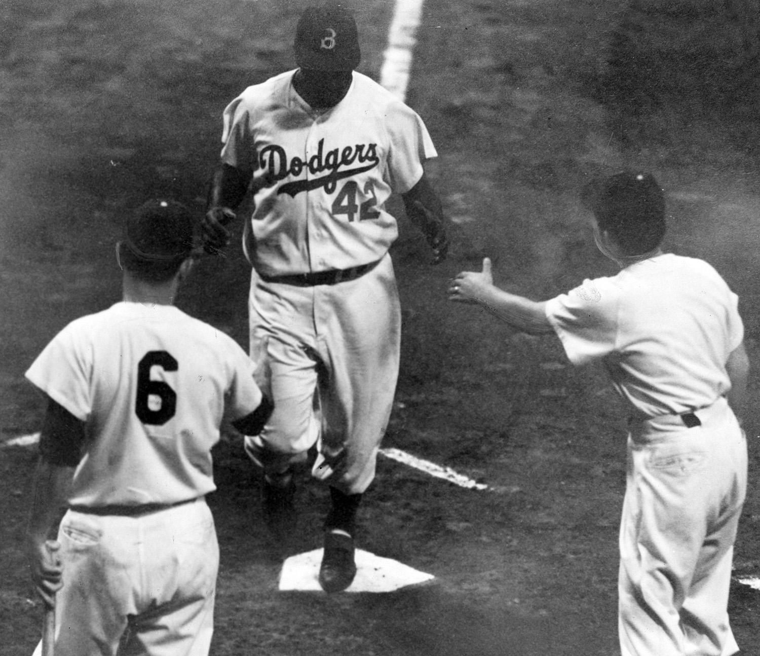 The Brooklyn Dodgers won six pennants in Jackie Robinson's 10 seasons. He was traded to the Giants following the 1956 season, but rather than play for the Dodgers' biggest rival, Robinson decided to retire. (National Baseball Hall of Fame and Museum)