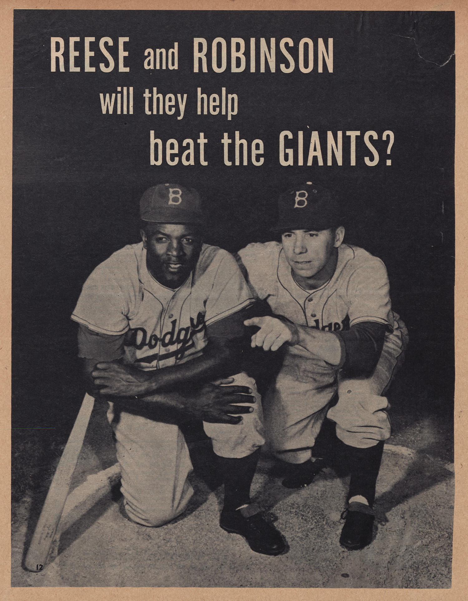 """Arnold Hano grew up a Giants fan, but he still calls Jackie Robinson """"one of the most influential athletes in the game."""" This image, taken from a Jackie Robinson Scrapbook,  is currently available in the <em>Hall of Fame Digital Archive</em>. The <em>Archive</em> recently released the Scrapbooks,  the papers of Wendell Smith and digitized photos of the Negro Leagues.  (National Baseball Hall of Fame)"""