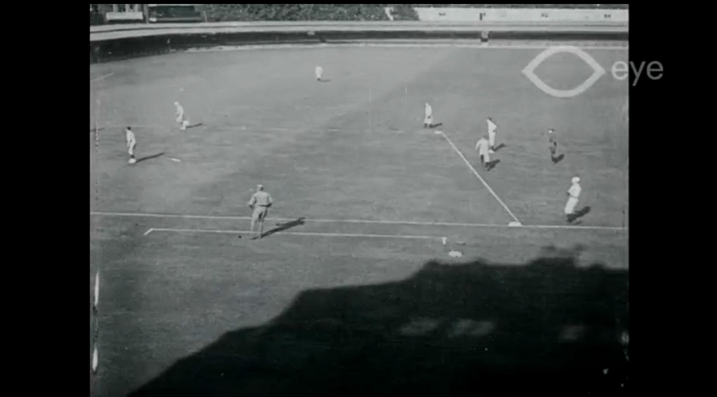 Screenshot of some of the earliest known footage of baseball being played on foreign soil. (Europeana 1914-1918)