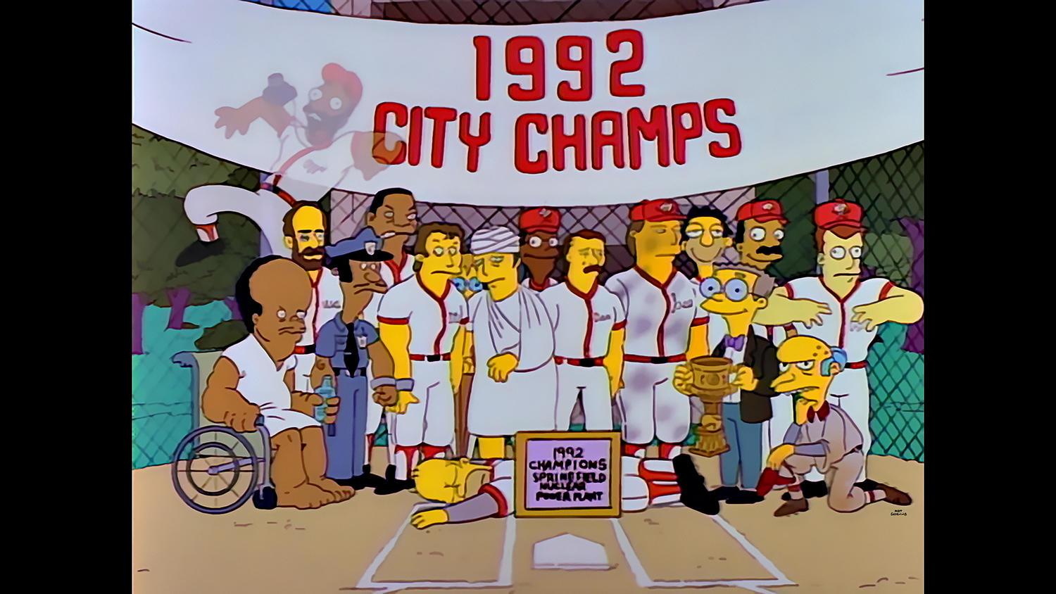Hank Azaria has voiced a number of characters on THE SIMPSONS, including Officer Lou (pictured in the first row, second from the left), who makes an appearance in 'Homer at the Bat.' (Photo Courtesy of FOX)