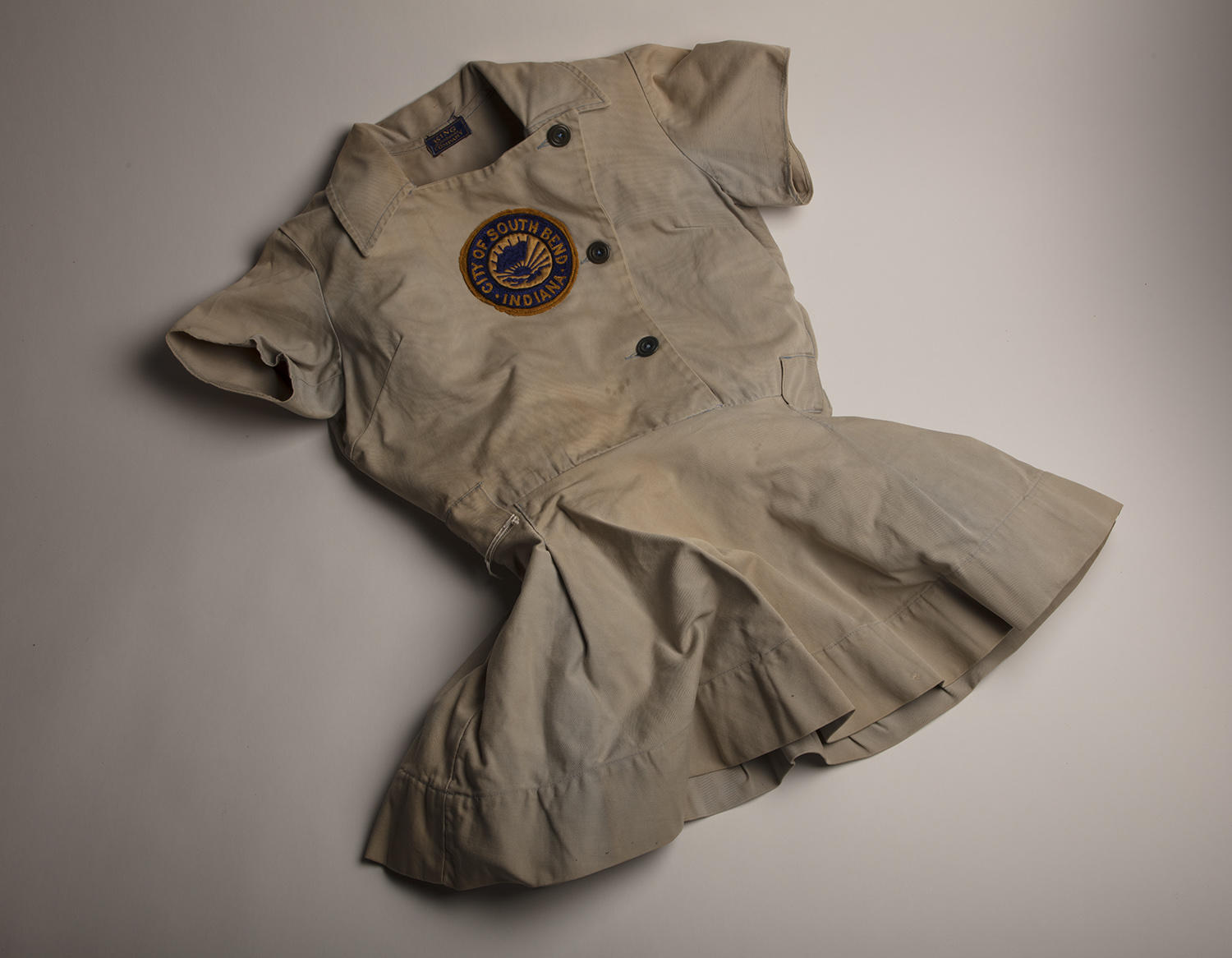 This South Bend Blue Sox tunic was worn by Rita Briggs during the one season she spent with the team, 1949. (Milo Stewart Jr. / National Baseball Hall of Fame and Museum)