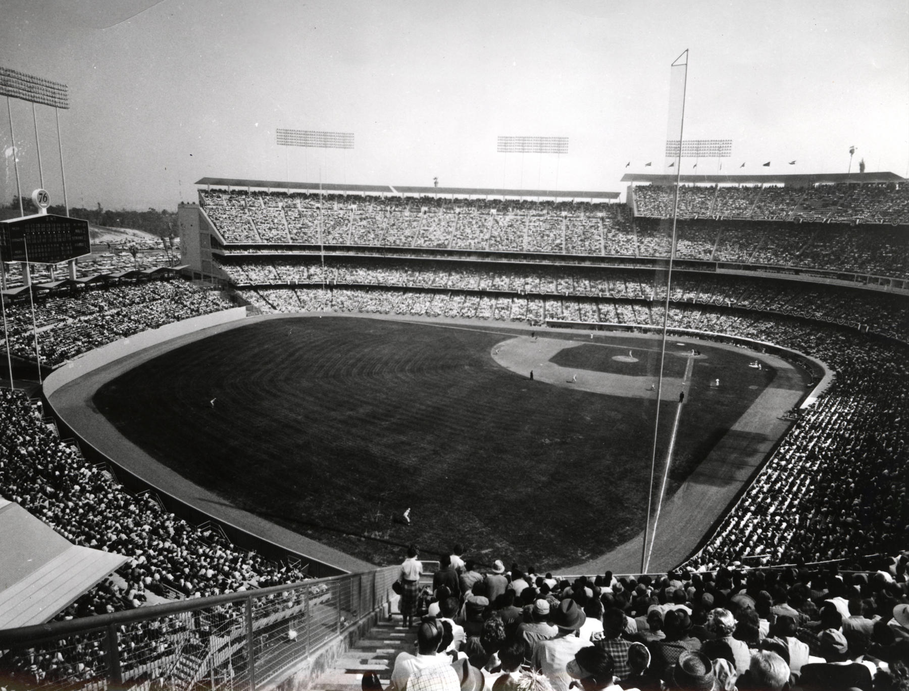 Cavernous Dodger Stadium in Los Angeles has witnessed some of the longest scoreless innings streaks in history by major league pitchers. BL-68-64C (National Baseball Hall of Fame Library)