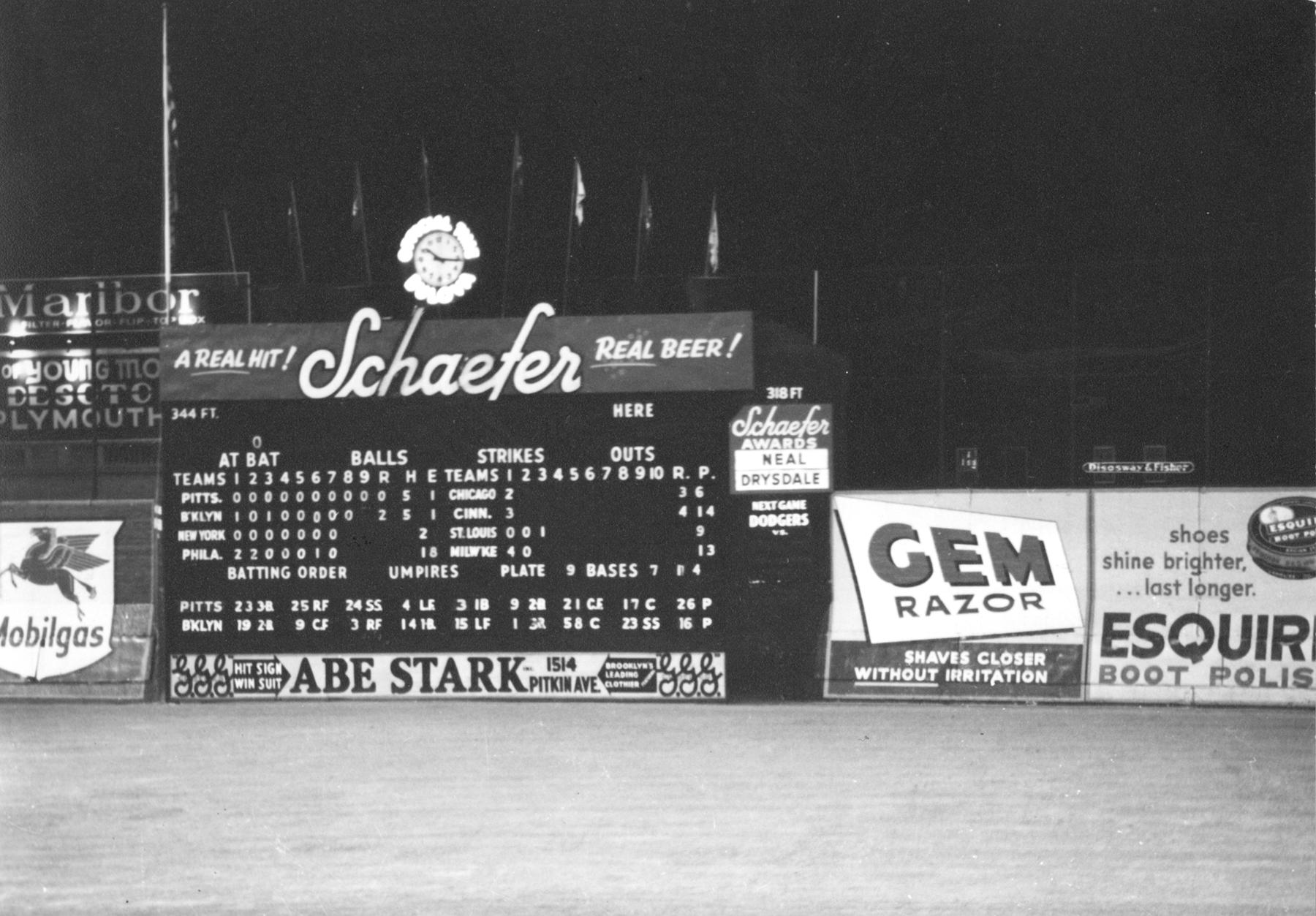 The Dodgers played their last game at Brooklyn's Ebbets Field on Sept. 24, 1957, defeating the Pirates 2-0. (National Baseball Hall of Fame and Museum)