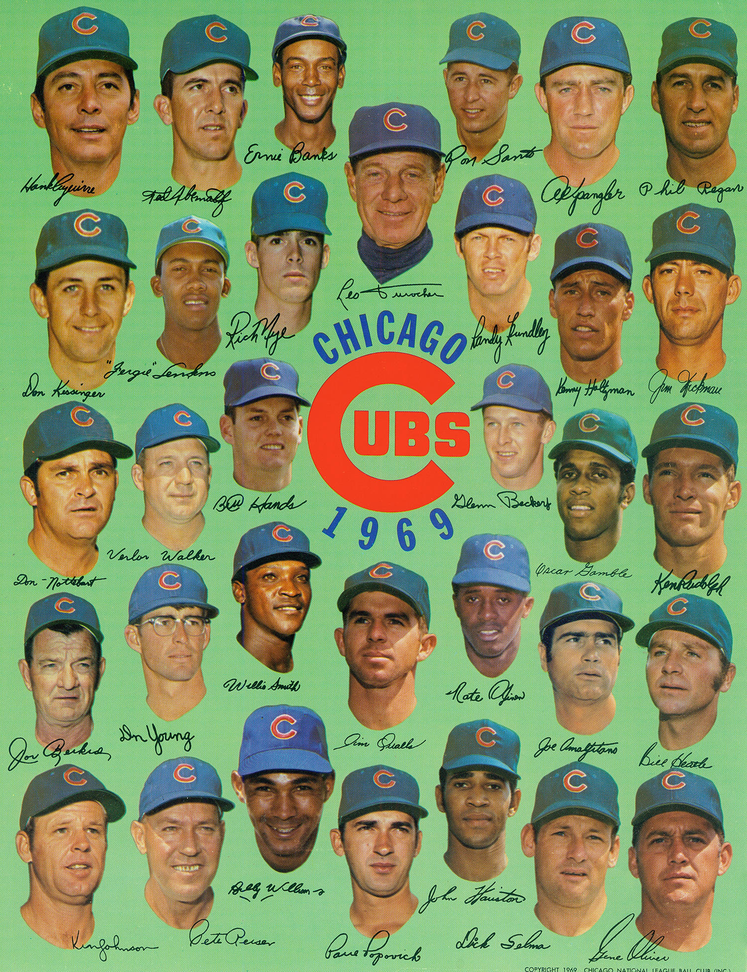 The 1969 Chicago Cubs featured five future Hall of Famers: Ernie Banks, Leo Durocher, Fergie Jenkins, Ron Santo and Billy Williams. (National Baseball Hall of Fame and Museum)