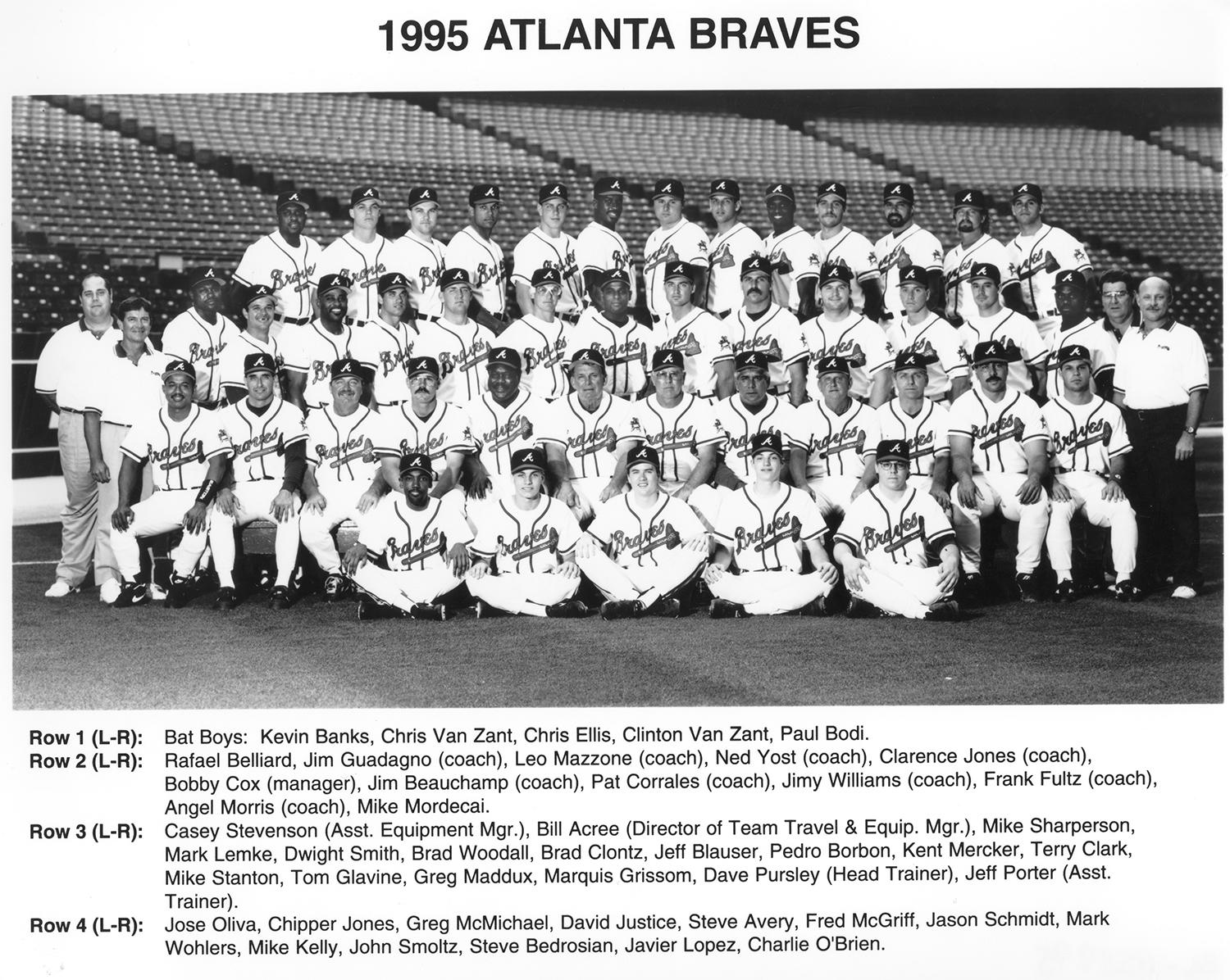 Chipper Jones won a World Series ring in his first full season with the Atlanta Braves, in 1995. He's pictured above on the top row, second from the left. (National Baseball Hall of Fame and Museum)