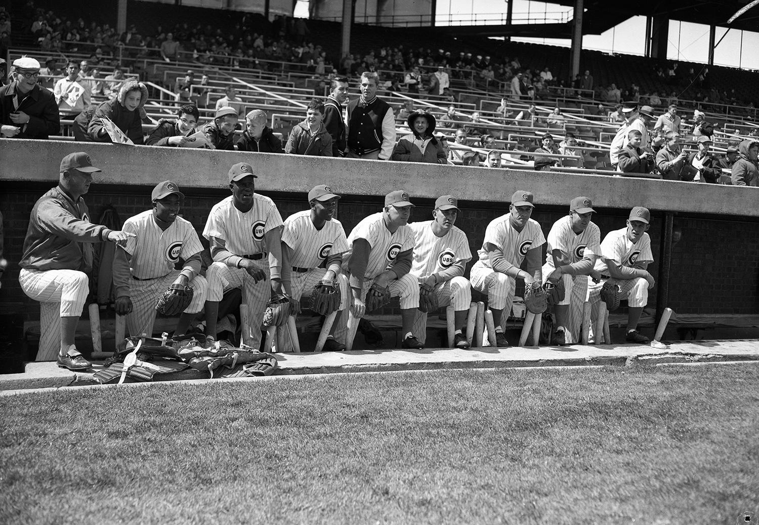 George Altman joined the Chicago Cubs in 1959, and would play with them for seven seasons in total. Pictured above with his teammates in 1959  (L to R): manager Bob Scheffing, Tony Taylor, George Altman, Ernie Banks, Walt Moryn, Earl Averill, Dale Long, Bobby Thomson and Sammy Taylor.  (National Baseball Hall of Fame and Museum)