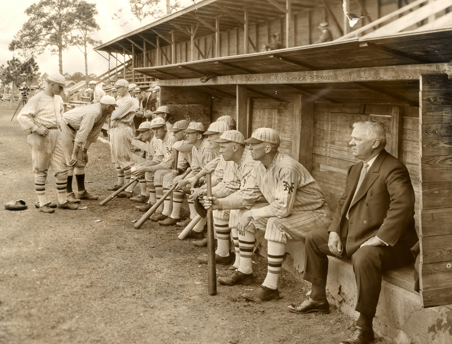 John McGraw (far right) brought his New York Giants to his hometown of Truxton, N.Y. multiple times to raise money for the town. (National Baseball Hall of Fame)