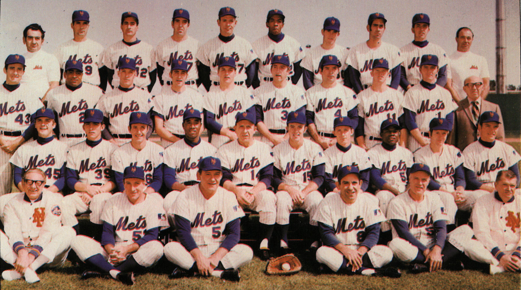 The 1969 New York Mets. Jerry Grote is in the second row, fifth from the right. BL-2968.71 (National Baseball Hall of Fame Library)