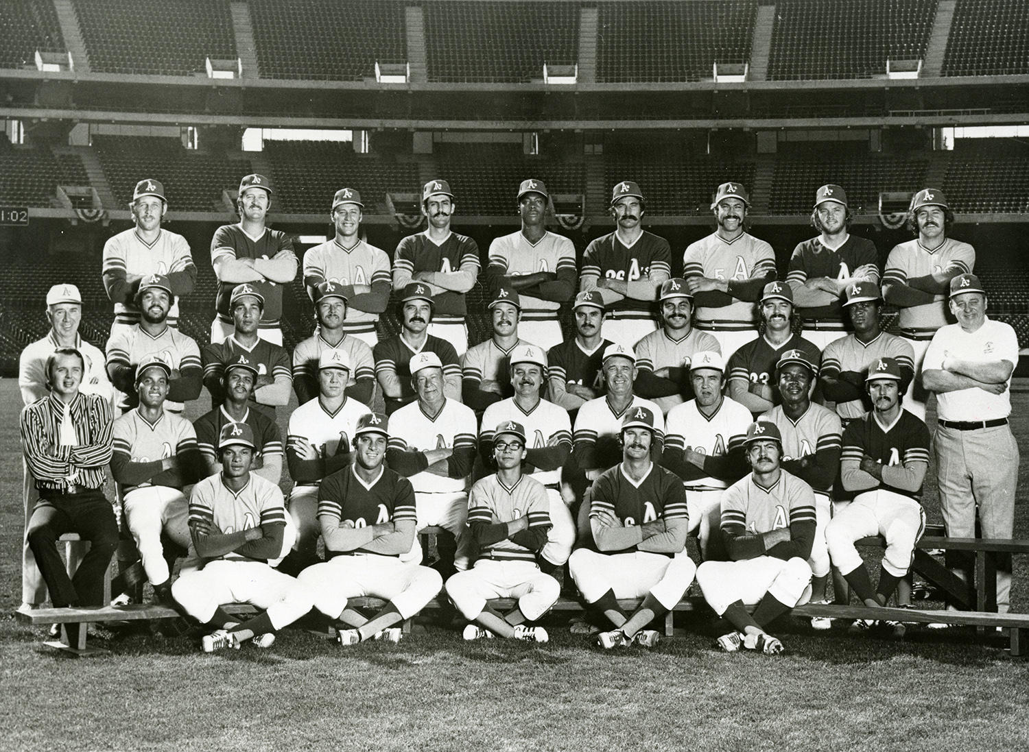 Of Bob Locker's three seasons in Oakland, his best came in 1972, when he posted an ERA of 2.65 for 78 innings. In this team photo, Bob Locker sits in the last row, fourth from the right. (National Baseball Hall of Fame and Museum)