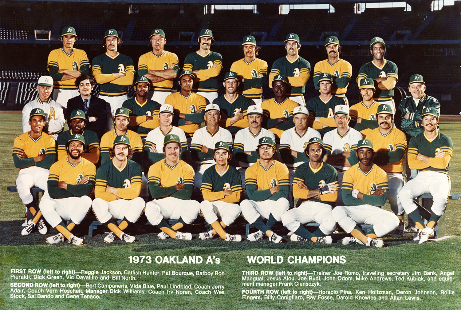 The Oakland Athletics, pictured here in 1973, won three straight World Series titles from 1972-1974. (National Baseball Hall of Fame)