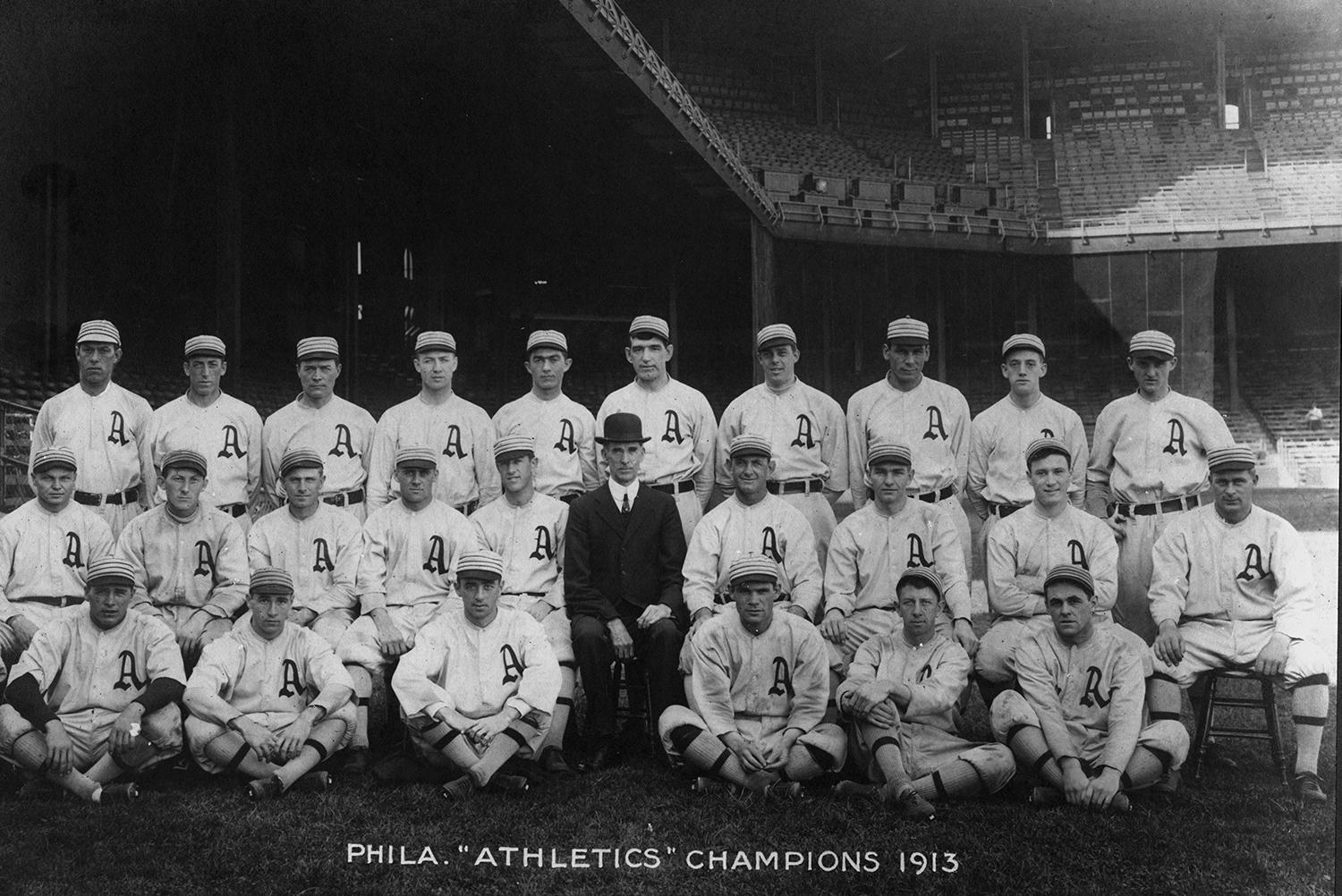 The Philadelphia Athletics pictured in 1913, when they won their third World Series title. (National Baseball Hall of Fame and Museum)