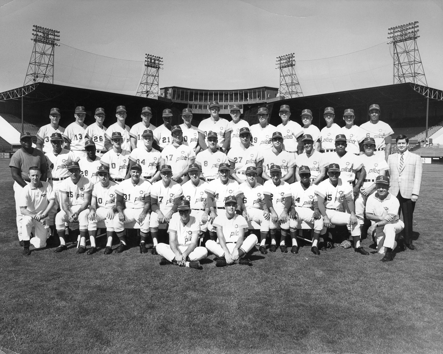 The Seattle Pilots viewed Gary Bell as the potential anchor to their inaugural pitching staff of 1969, and took him with the 21st pick of the expansion draft. He's pictured above on the top row, sixth from the right. (National Baseball Hall of Fame and Museum)