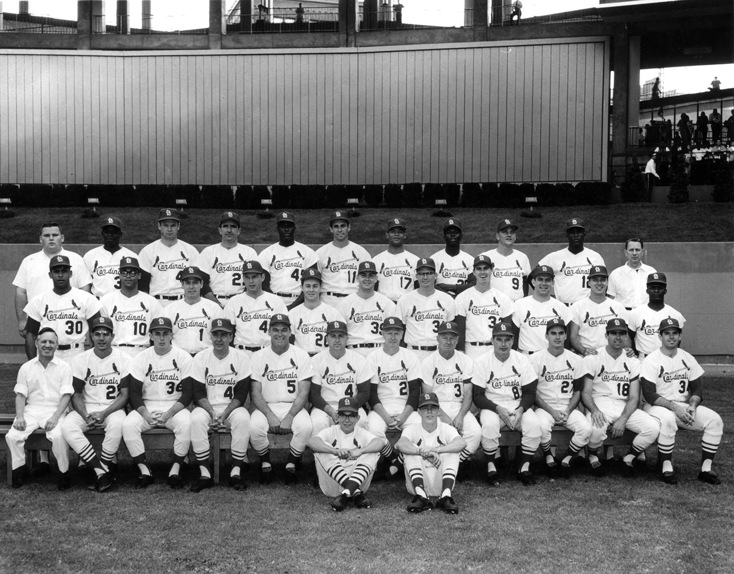 Bobby Tolan earned a spot as a No. 4 outfielder for the St. Louis Cardinals in 1967. He is pictured above, fifth from the right in the top row. (National Baseball Hall of Fame and Museum)