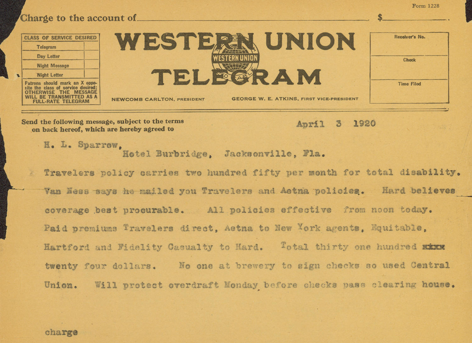 Western Union telegram from April 3, 1920 outlining Babe Ruth's insurance policies. (National Baseball Hall of Fame Library)