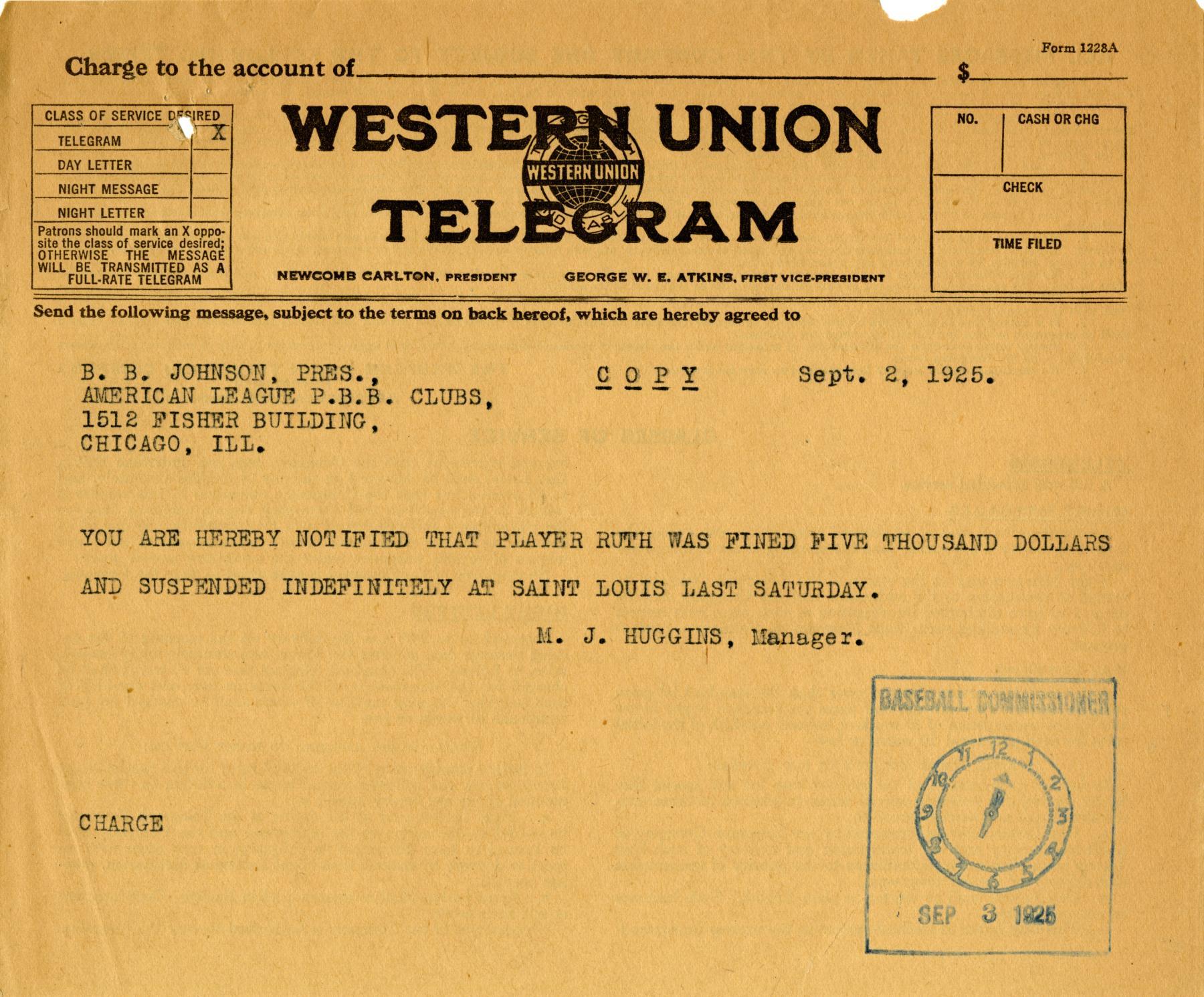 Telegram sent by Miller Huggins to Ban Johnson regarding Babe Ruth's $5,000 fine. BL-439-2008 (National Baseball Hall of Fame Library)