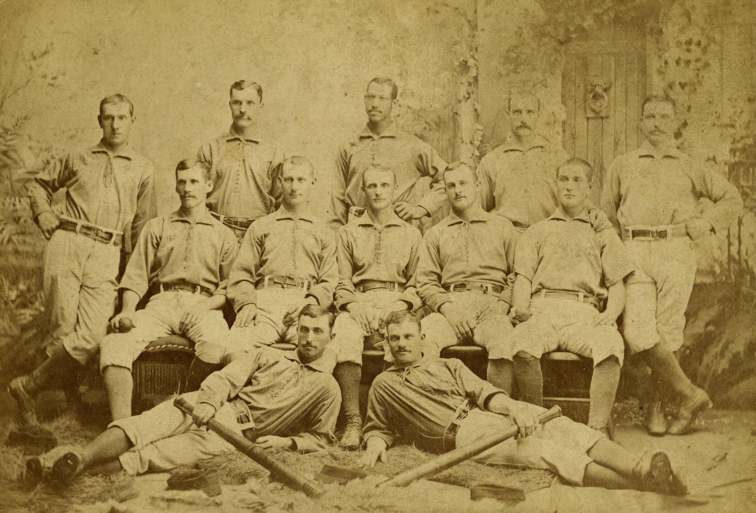 Tom Ramsey and Moses Fleetwood Walker all played for the Toledo Blue Stockings (pictured above in 1883). Sim Bullas would play for the team in 1884.  (National Baseball Hall of Fame)