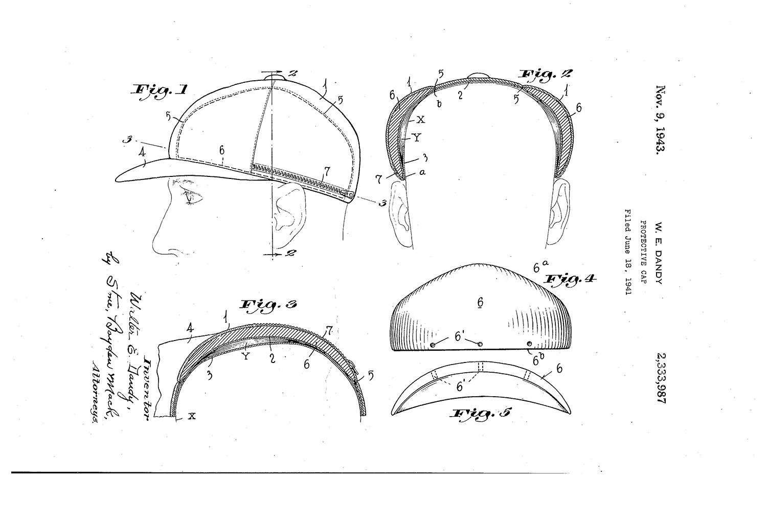 Pictured above are designs from the patent for the Protective Cap, attributed to Dr. Walter Dandy and Dr. George Bennett of Johns Hopkins University. (United States Patent and Trademark Office)