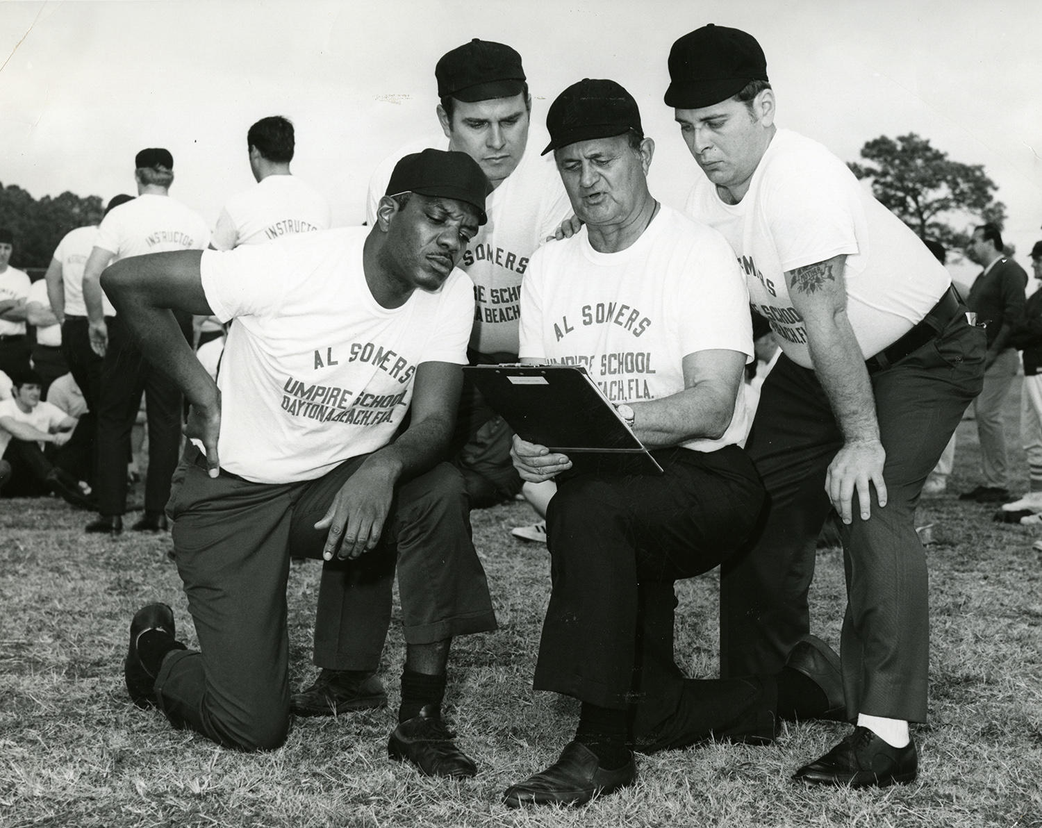 """At the time Emmett Ashford was training to become a major league umpire, many umpire schools weren't integrated. Al Somers' school was one of the first to integrate, with students of all races following the path that Ashford blazed. <a href=""""http://collection.baseballhall.org/islandora/object/islandora%3A505603"""">PASTIME</a> (National Baseball Hall of Fame and Museum)"""