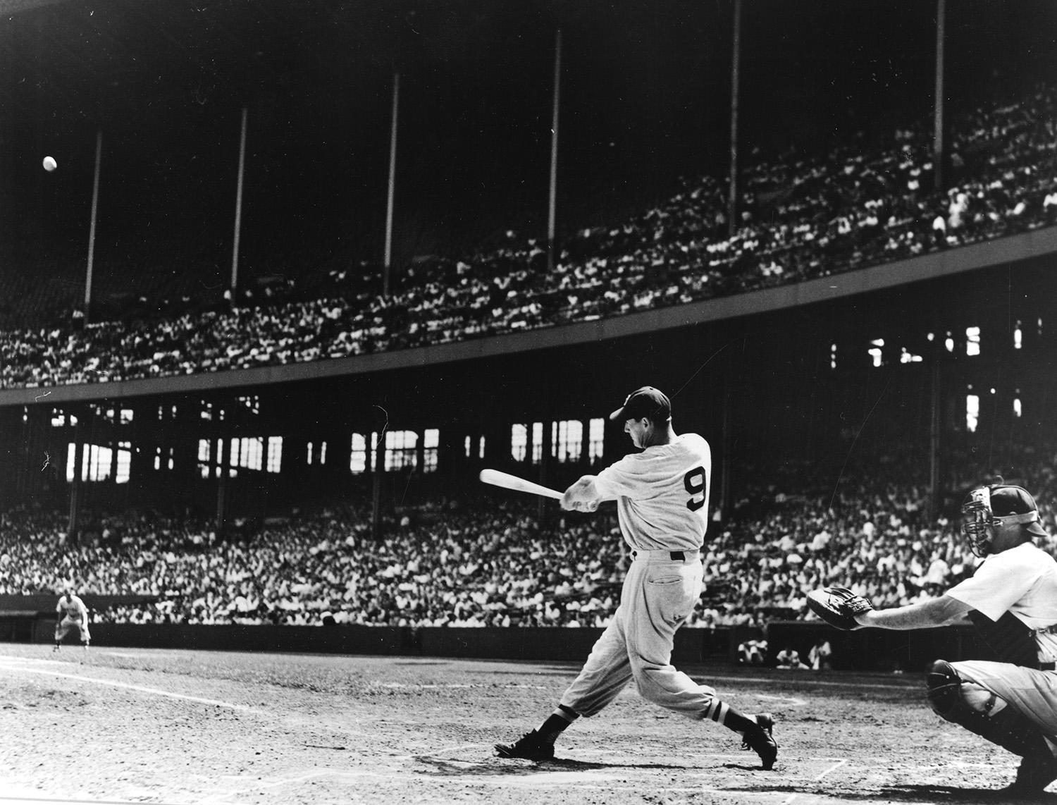 Besides Williams' .406 batting average that year, he also led the majors in walks (147), on-base percentage (.553), slugging (.735), runs scored (135) and home runs (37). (National Baseball Hall of Fame)