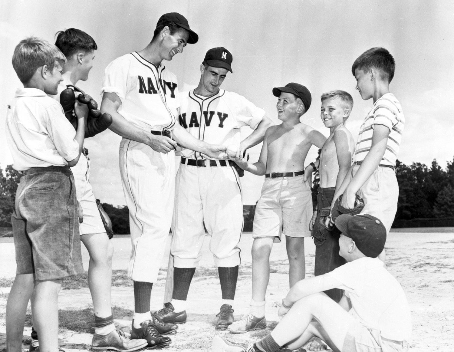 Ted Williams (left) and Red Sox teammate Johnny Pesky were in the same Navy Aviation training program during World War II. (National Baseball Hall of Fame)