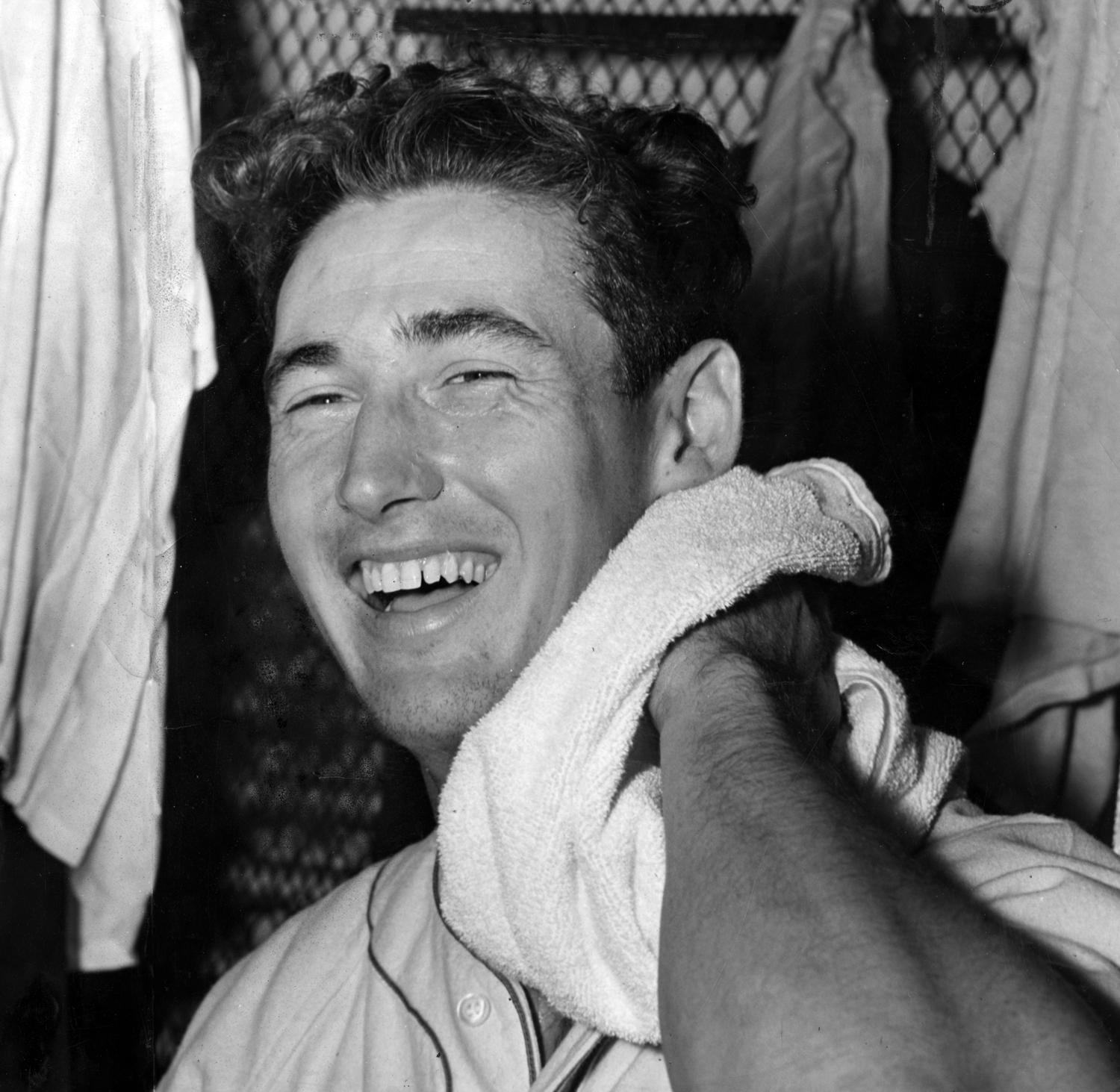 Ted Williams, nicknamed The Splendid Splinter, led the American League in bases on balls eight times in his 19-year career with the Boston Red Sox. (National Baseball Hall of Fame and Museum)