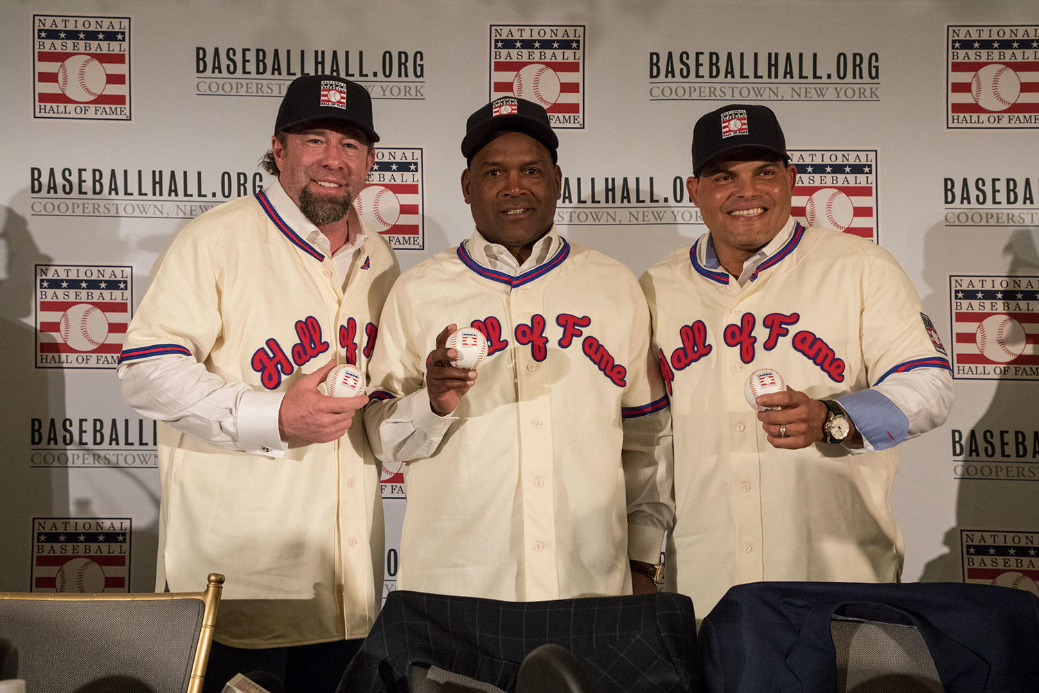 Jeff Bagwell (far left), stands next to Tim Raines (center) and Iván Rodríguez (right) after a press conference held at the St. Regis Hotel in New York City following their election to the Hall of Fame. (Milo Stewart Jr. / National Baseball Hall of Fame)